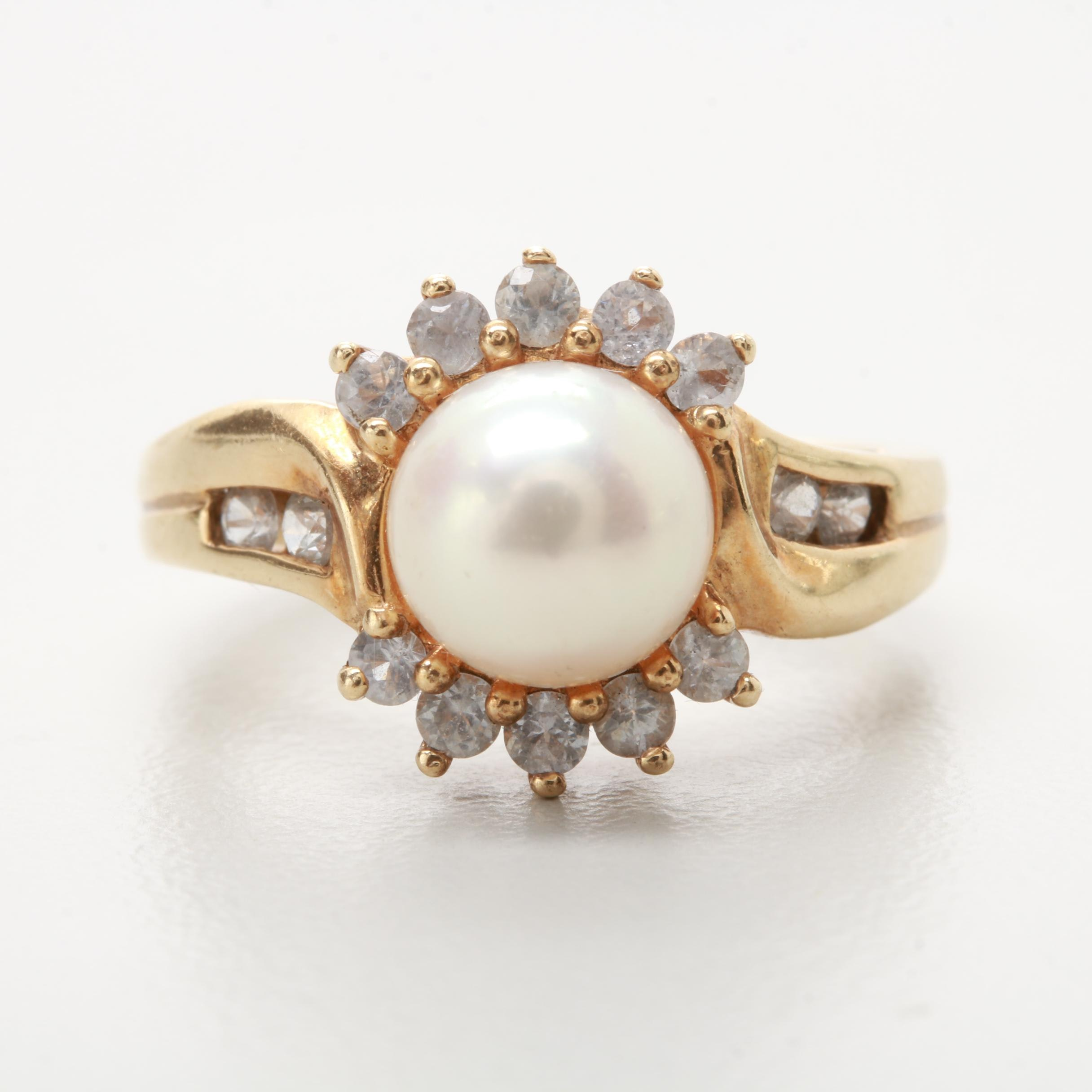 10K Yellow Gold Cultured Pearl and White Sapphire Ring