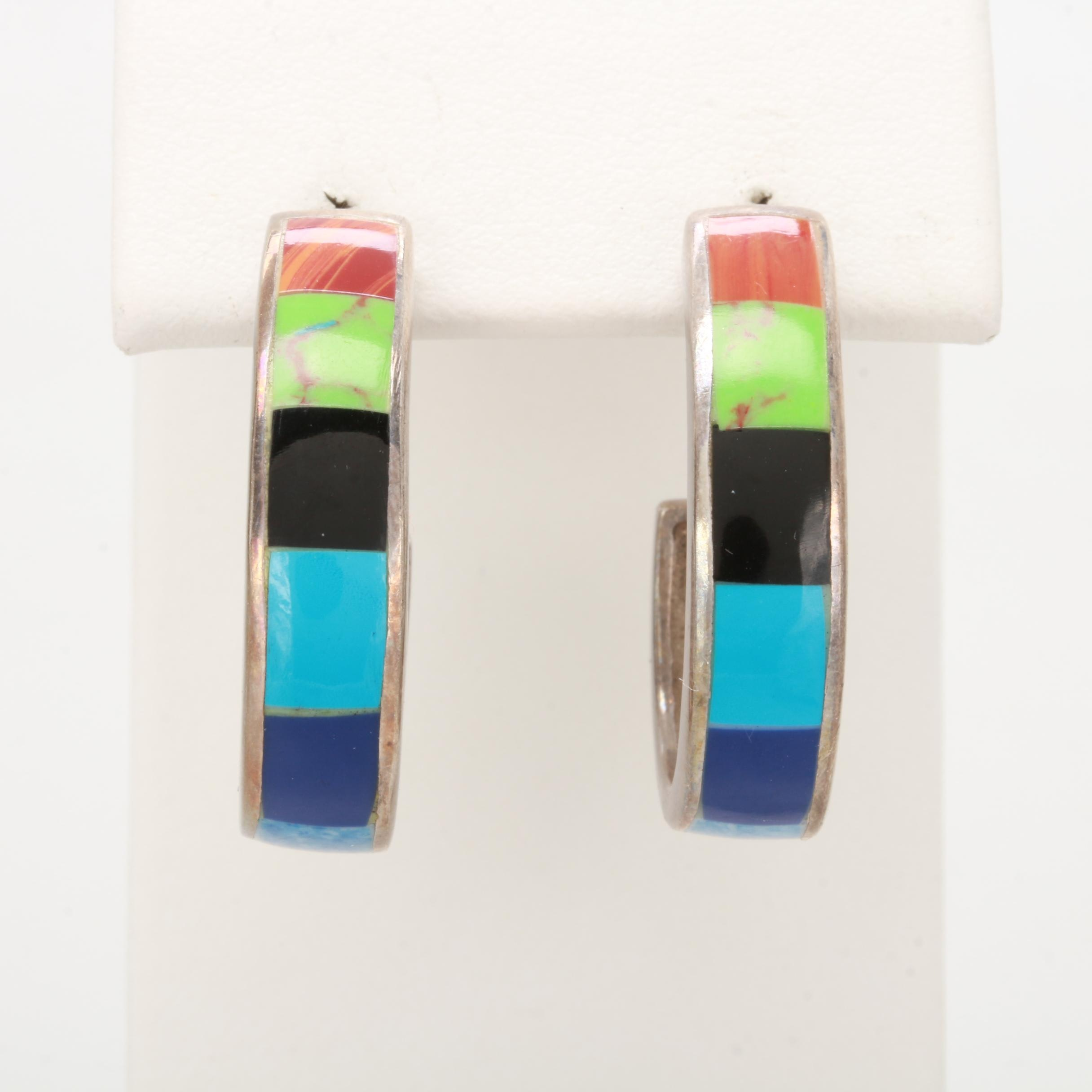 Sterling Silver Imitation Gemstone J Hoop Earrings