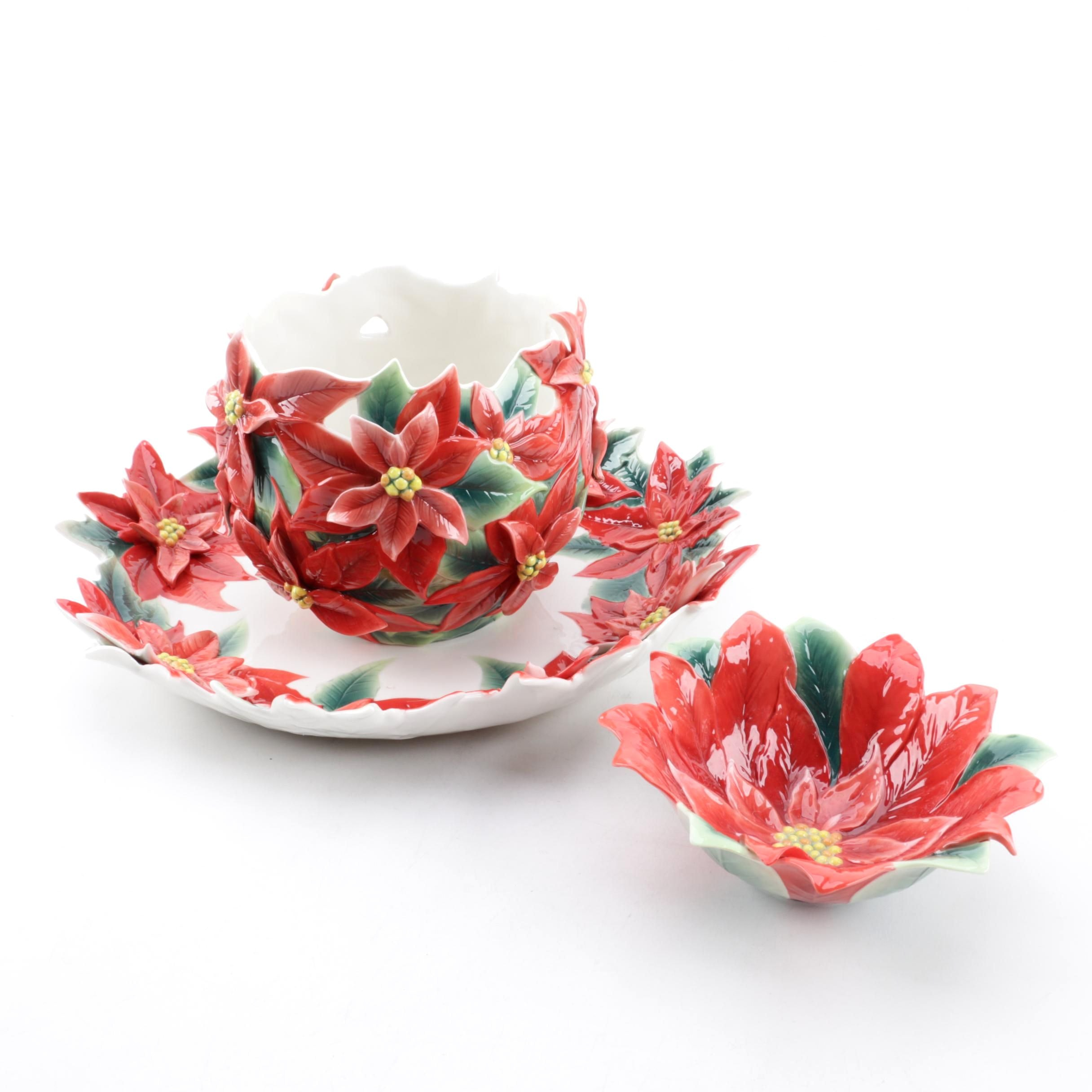 "Franz ""Poinsettia"" Sculptured Porcelain Vase and Serving Dishes"