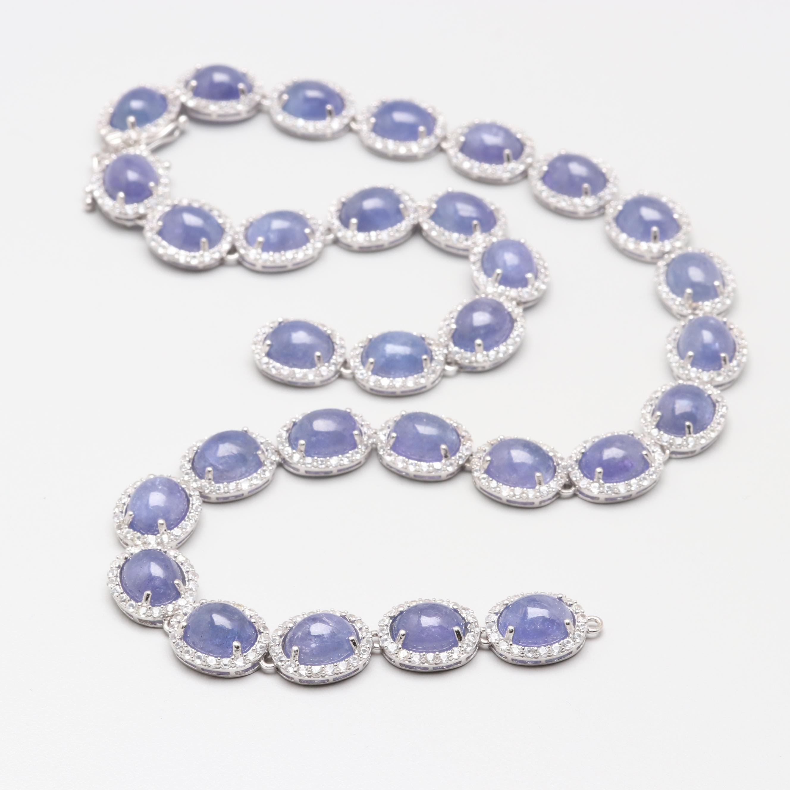 Sterling Silver Tanzanite and White Sapphire Necklace
