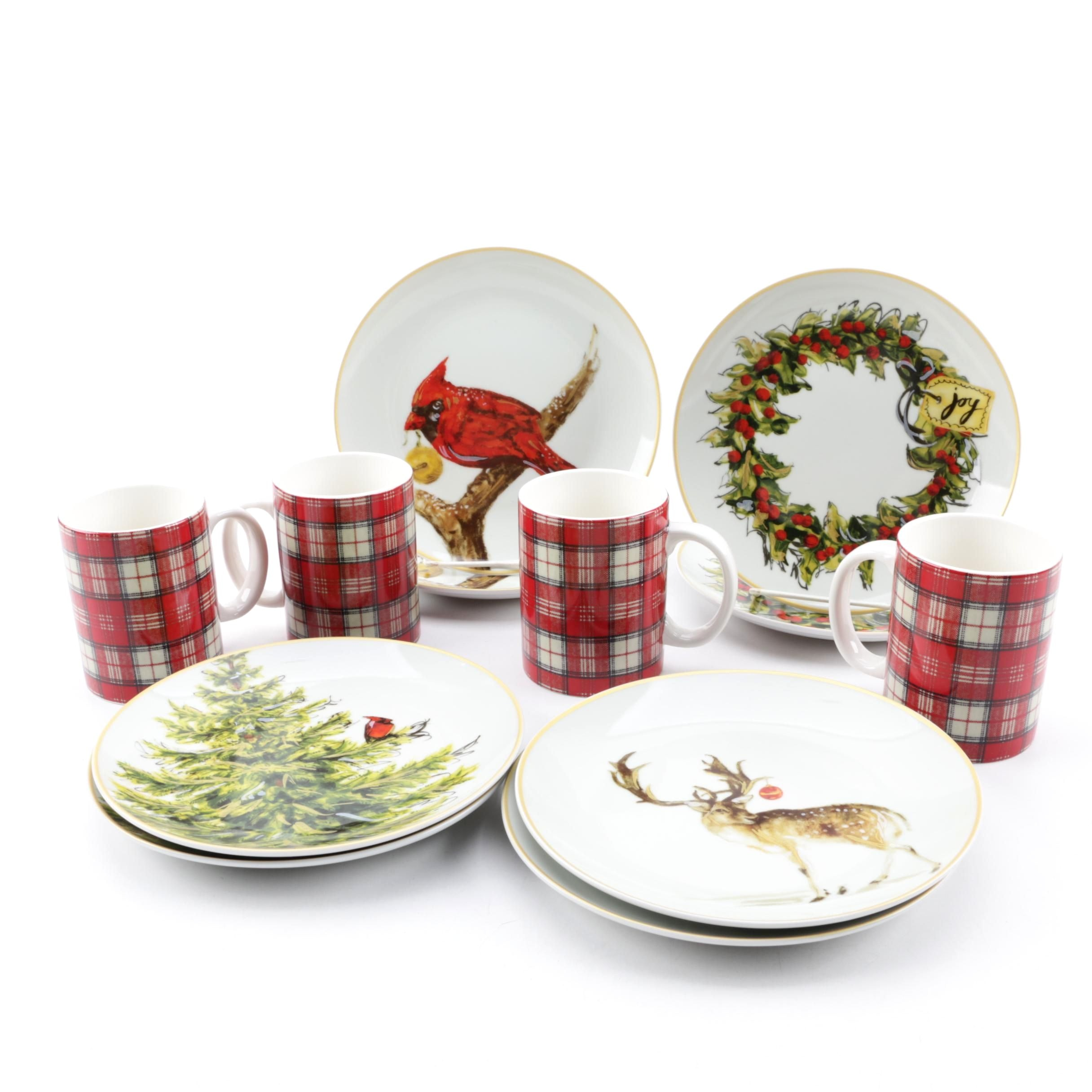 Pottery Barn Holiday Porcelain Plates and Mugs