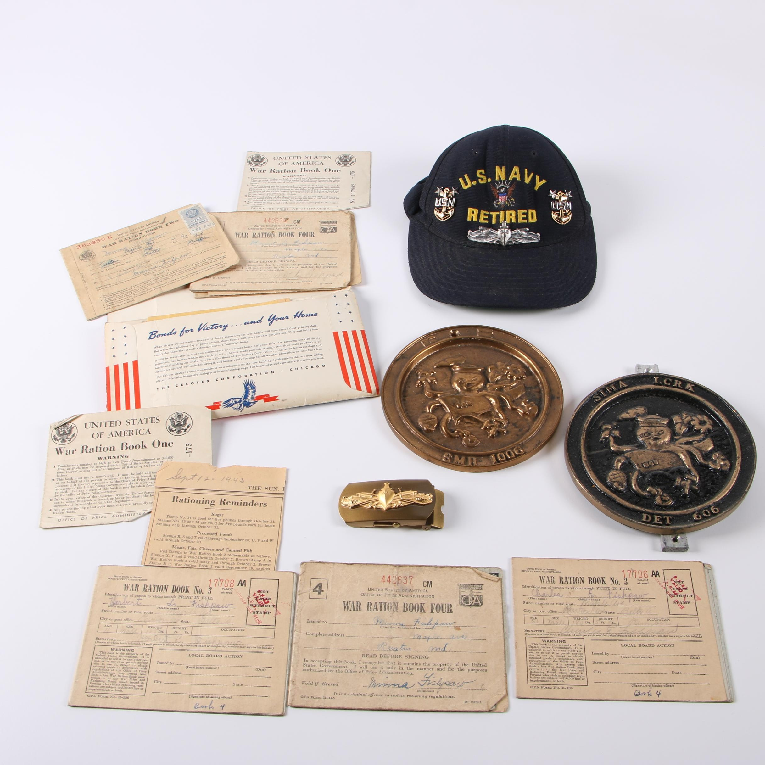 U. S. Navy Memorabilia and WWII Ration Books