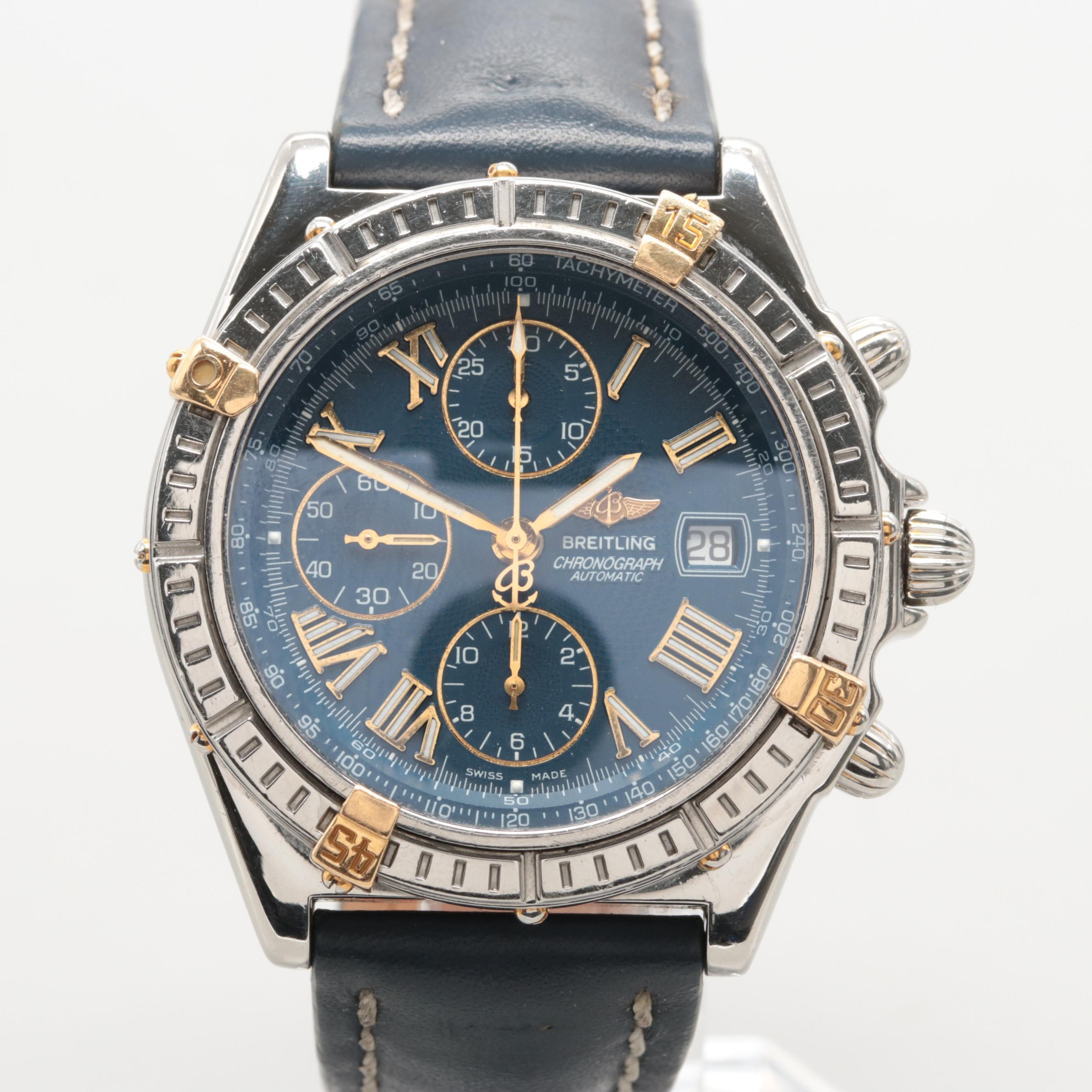 Breitling Crosswind 18K Yellow Gold and Stainless Steel Chronograph Wristwatch