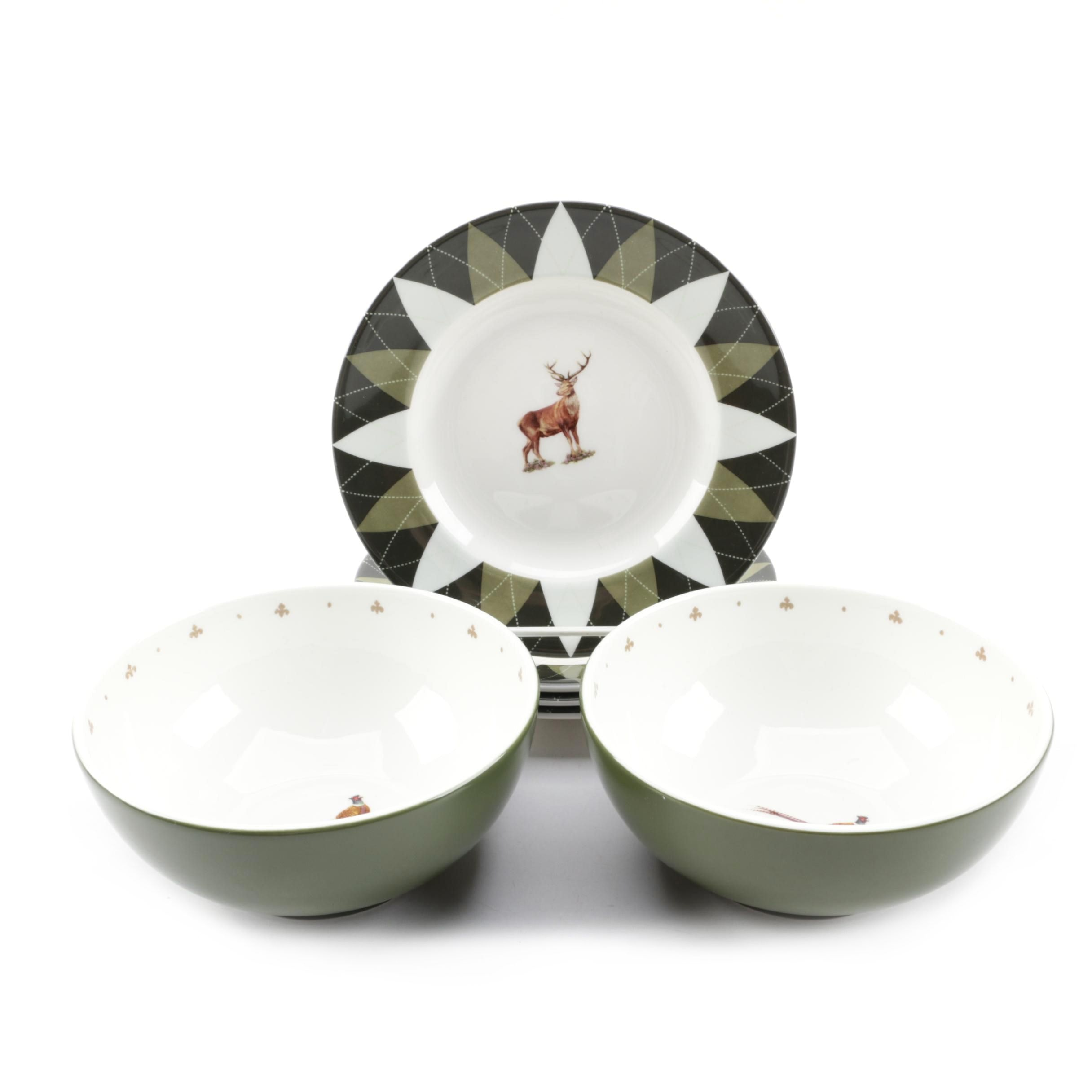 "Spode ""Glen Lodge Pheasant"" Bowls and ""Glen Lodge Stag"" Bread and Butter Plates"
