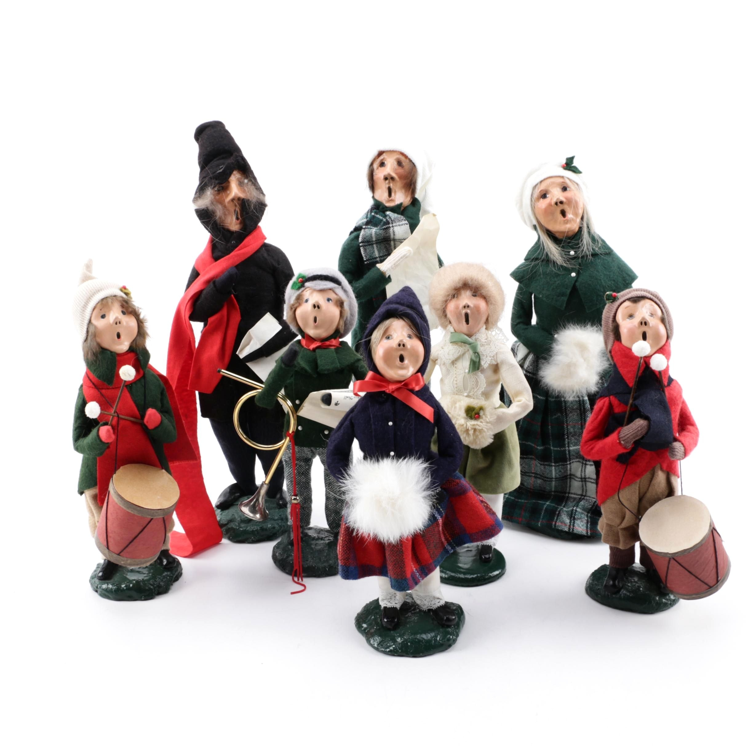 "1980s Byers' Choice ""The Carolers"" Handmade Papier-mâché Figurines"