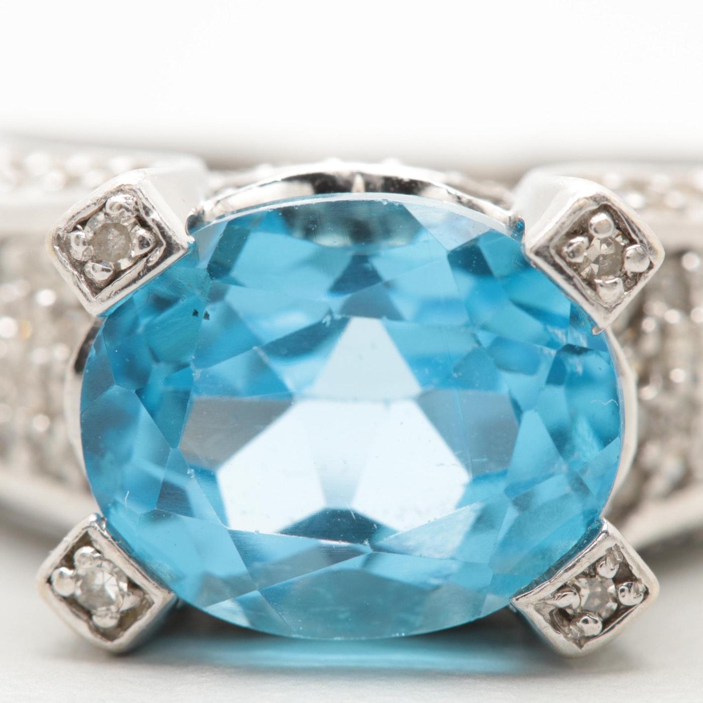 14K White Gold Blue Topaz and Diamond Ring | EBTH