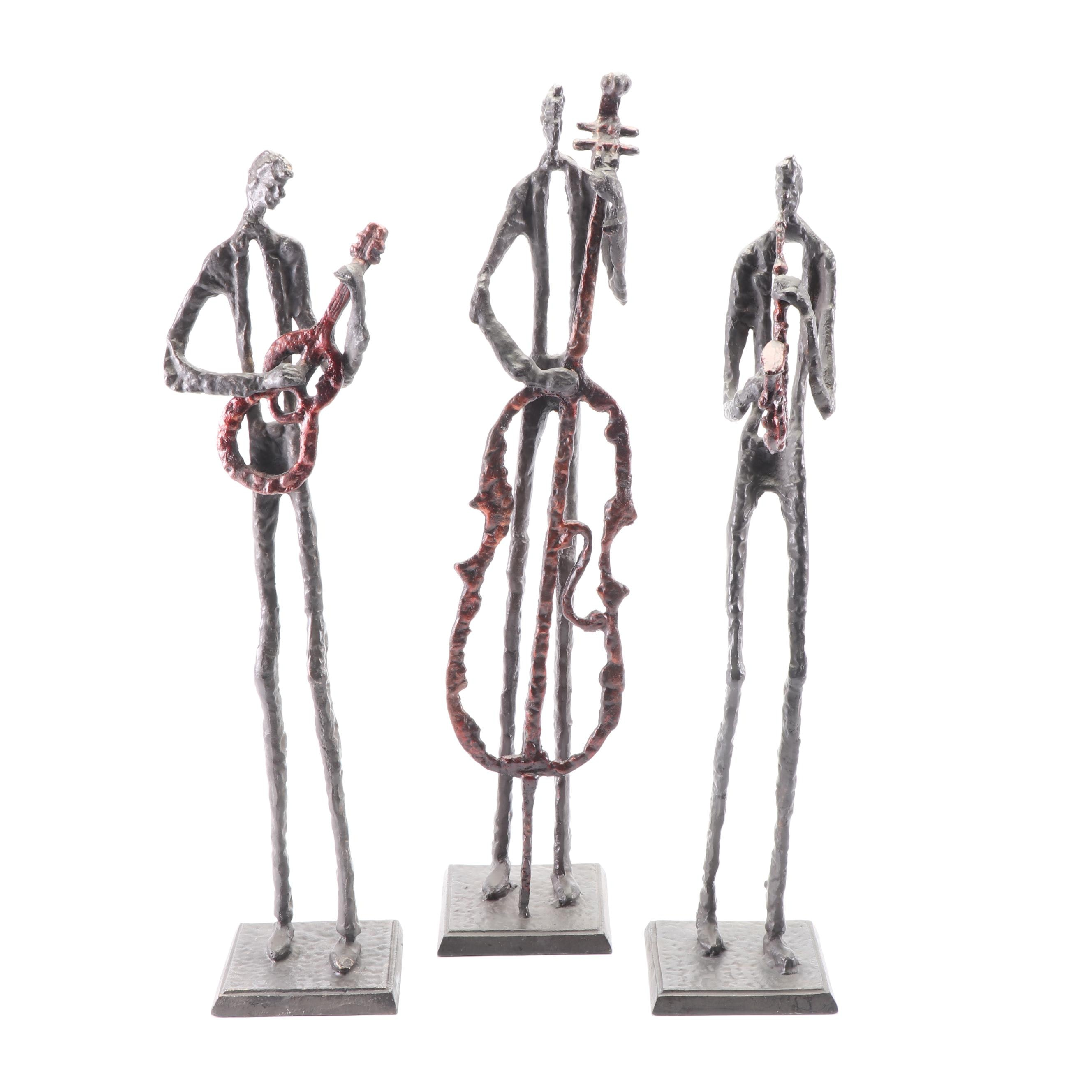 Cast Iron Jazz Trio Sculptures Playing Red Patinaed Instruments