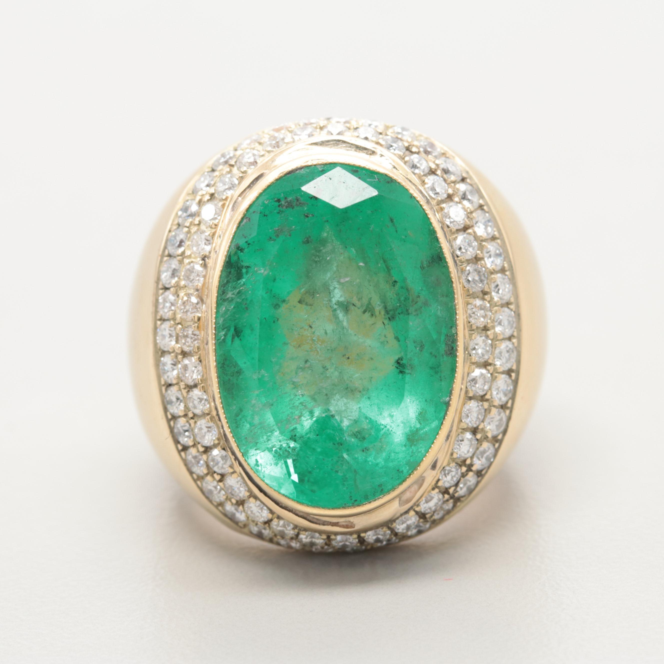 14K Yellow Gold 19.80 CT Emerald and 1.33 CTW Diamond Ring