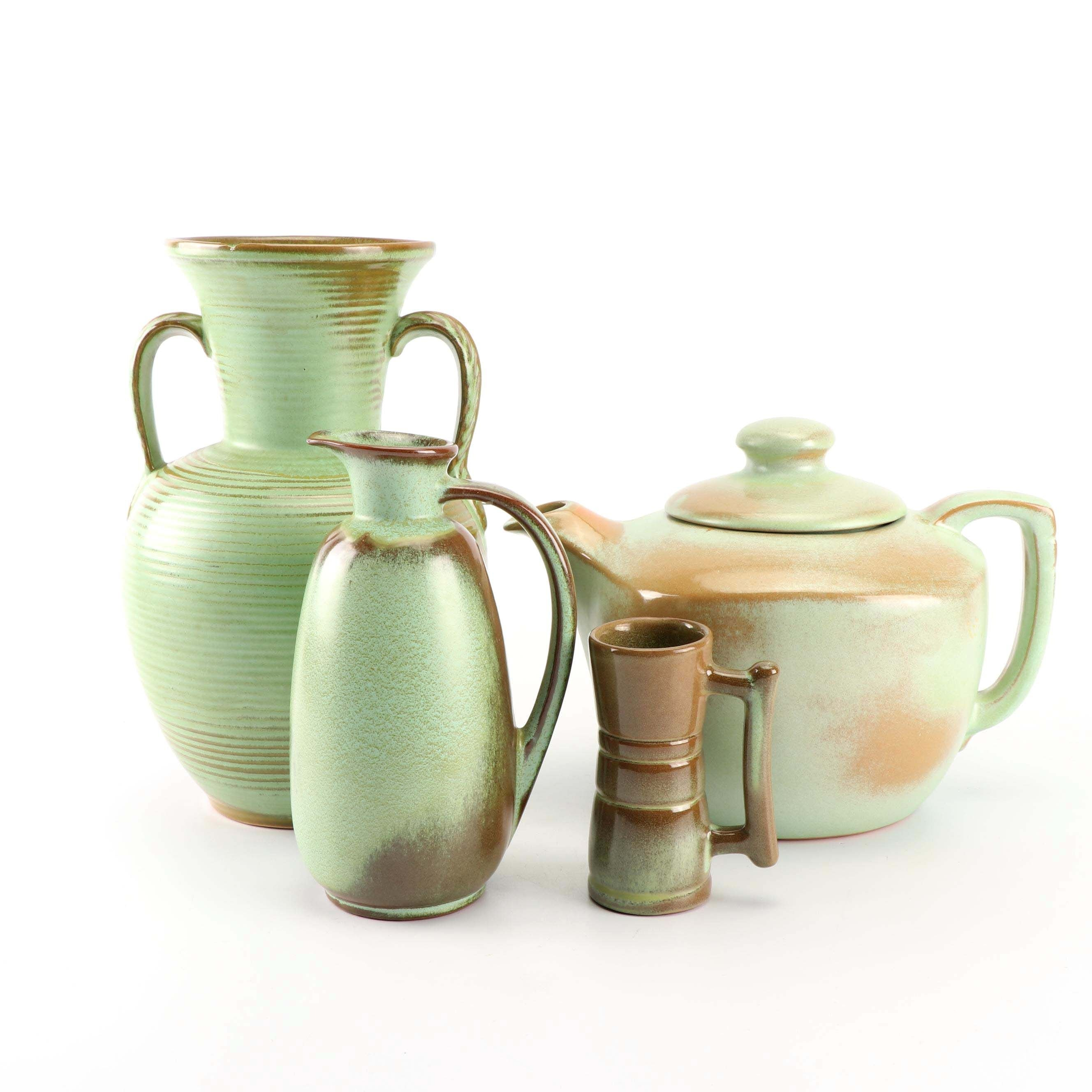 """Frankoma Pottery """"Prairie Green"""" Teapot, Pitcher, Cup, and Vase"""