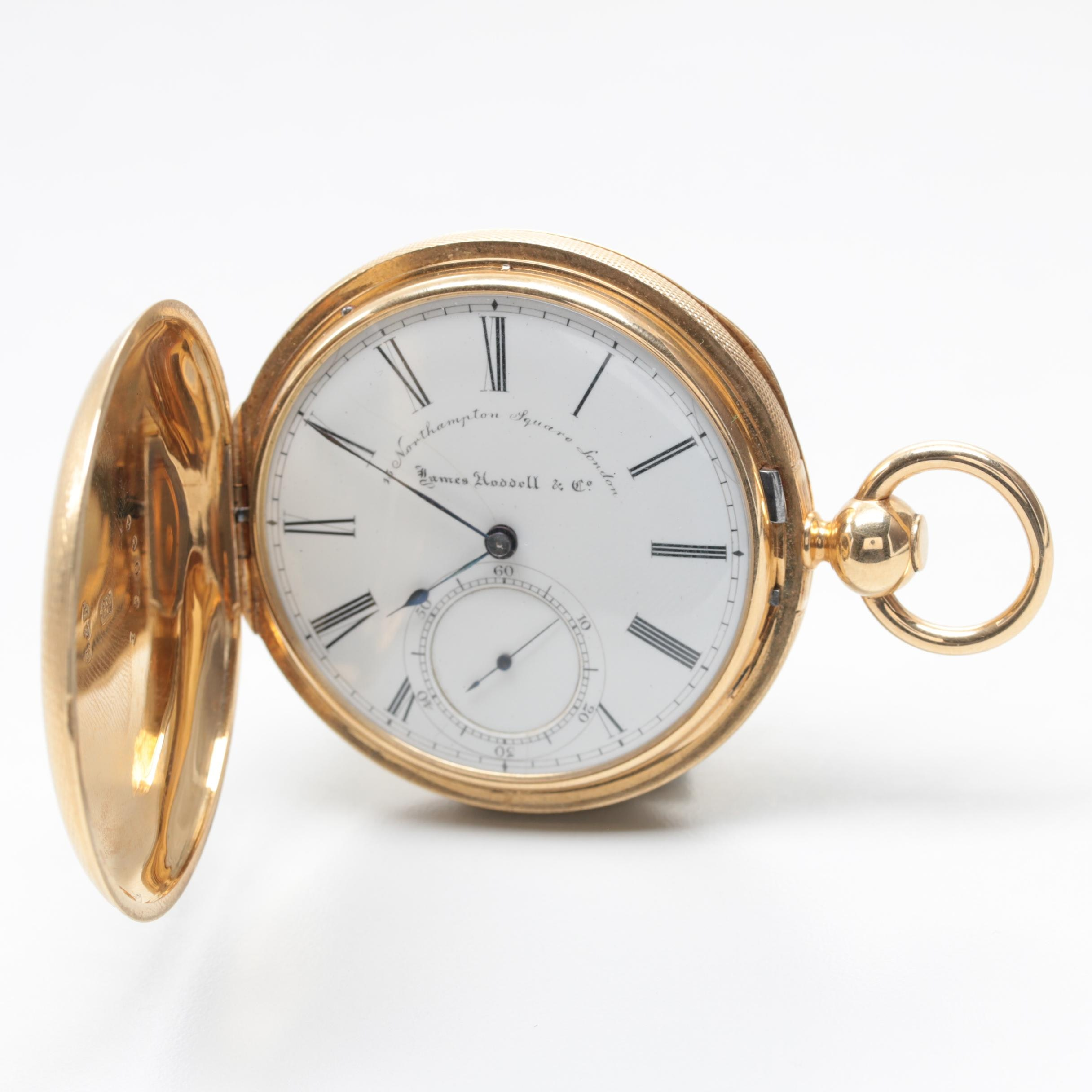 James Hoddell & Co. 18K Yellow Gold Hunter Case Pocket Watch