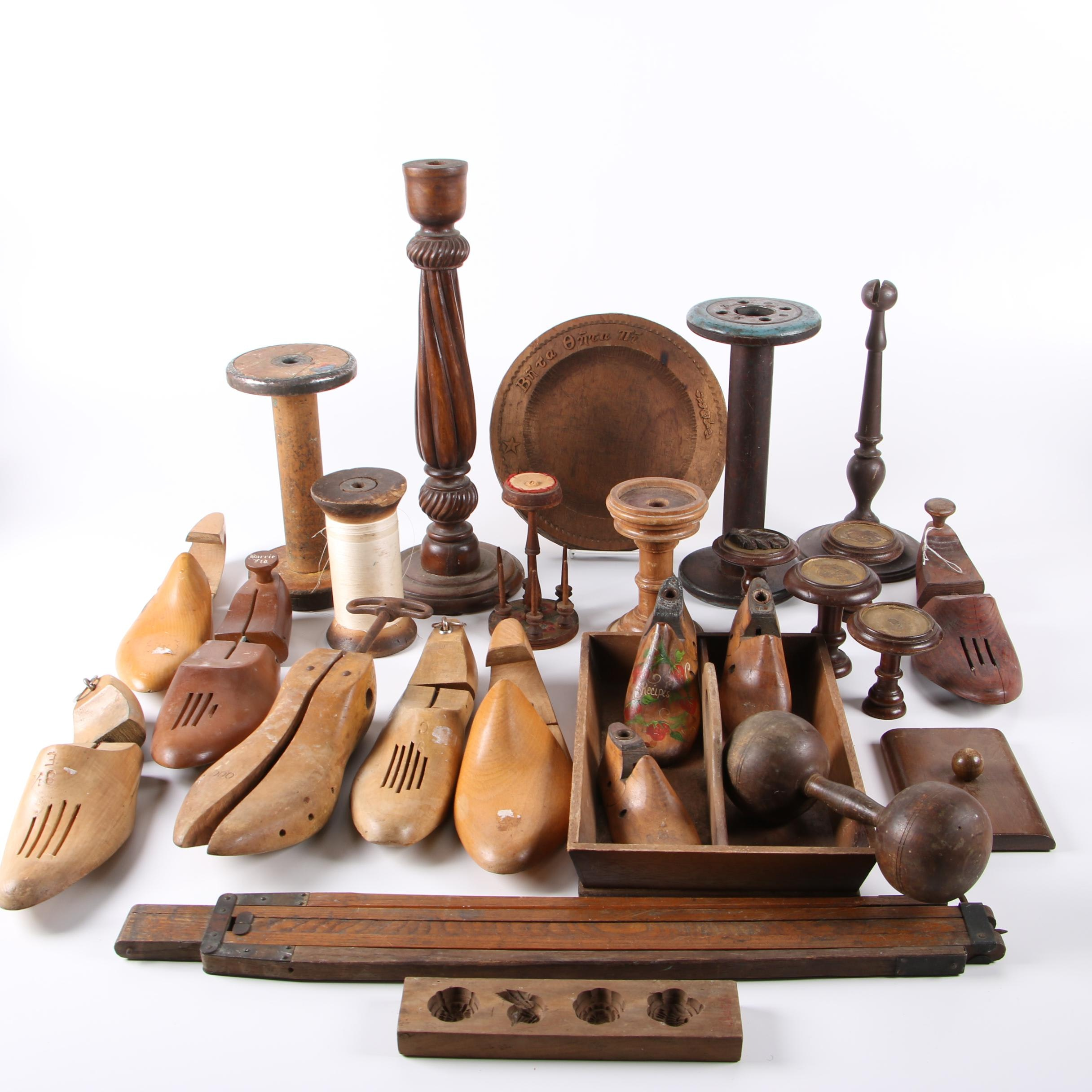 Shoe Lasts, Spools, and Other Vintage Wooden Items
