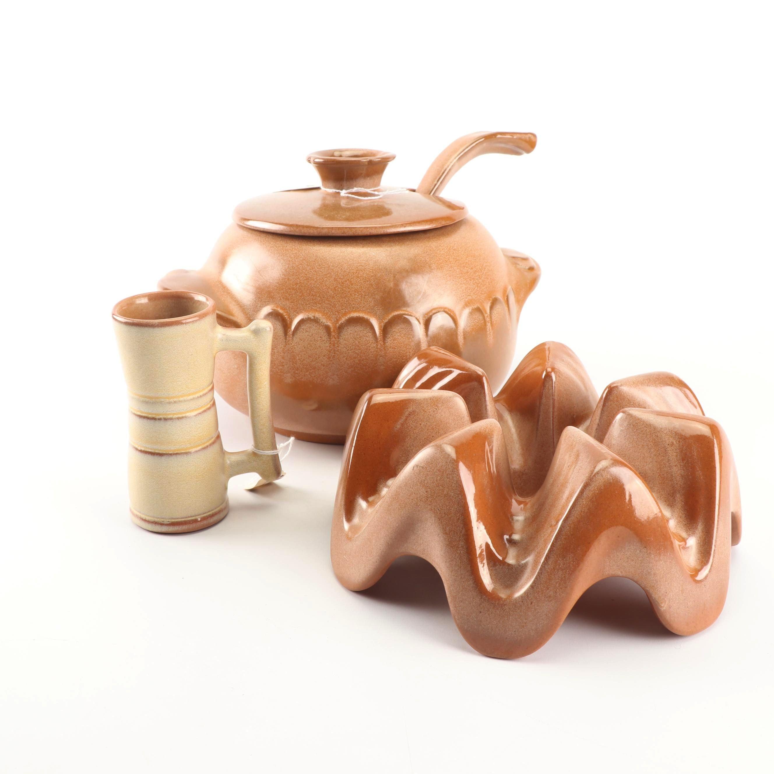 "Frankoma Pottery Mug and ""Lazy Bones"" Cinnamon Glazed Soup Tureen with Warmer"