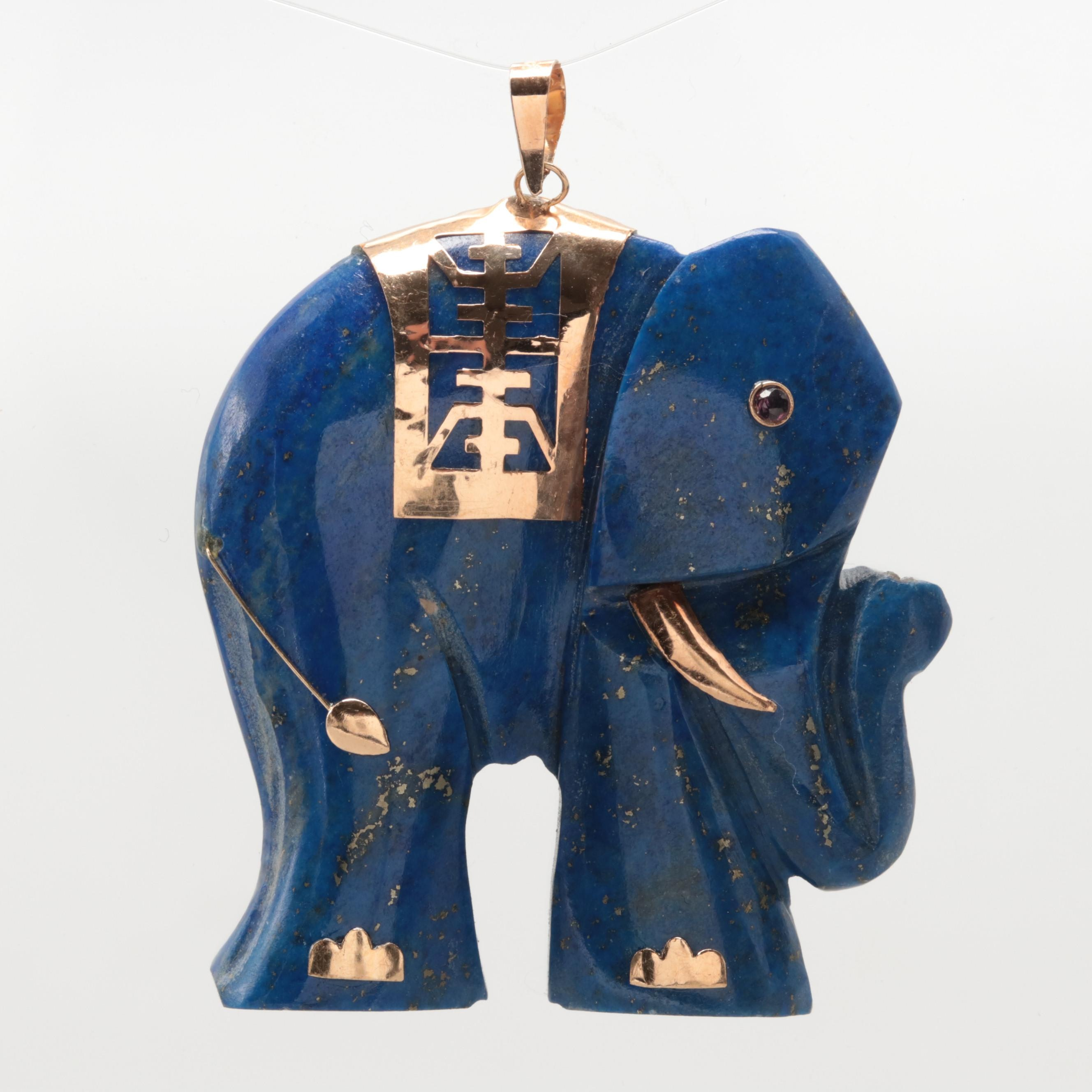 14K Yellow Gold Lapis Lazuli and Ruby Elephant Motif Pendant
