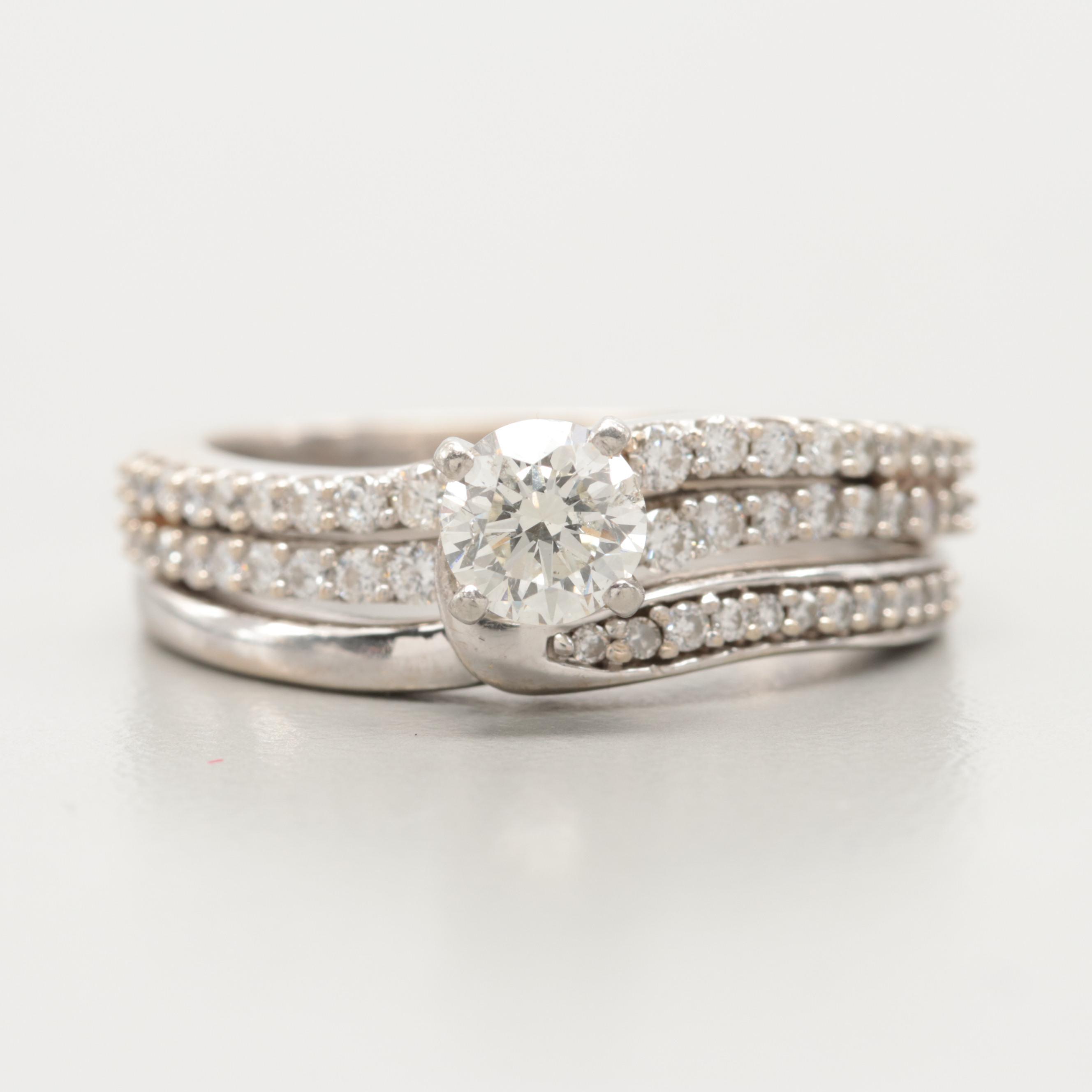 14K White Gold 1.15 CTW Diamond Ring Set