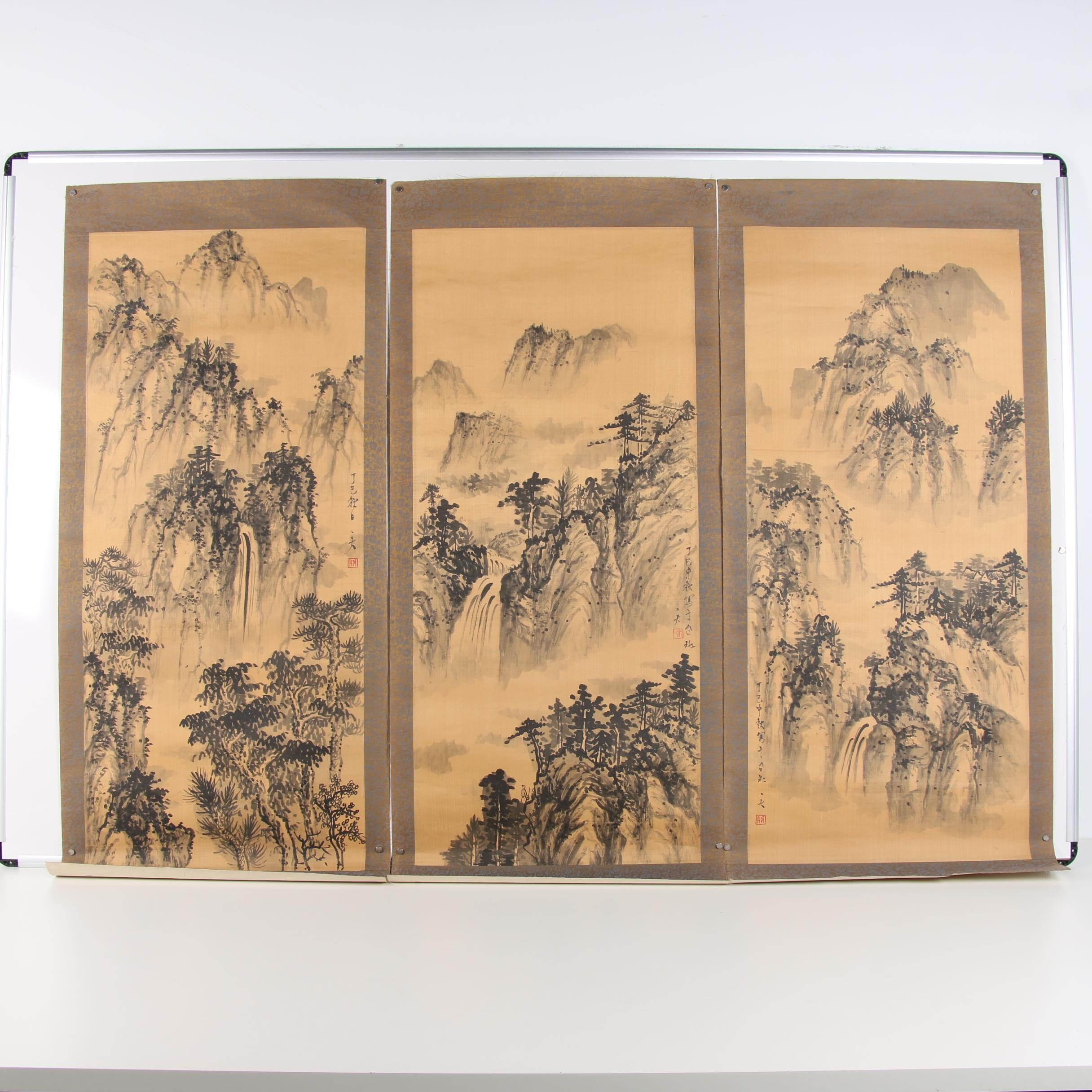 Chinese Ink Wash Paintings on Silk