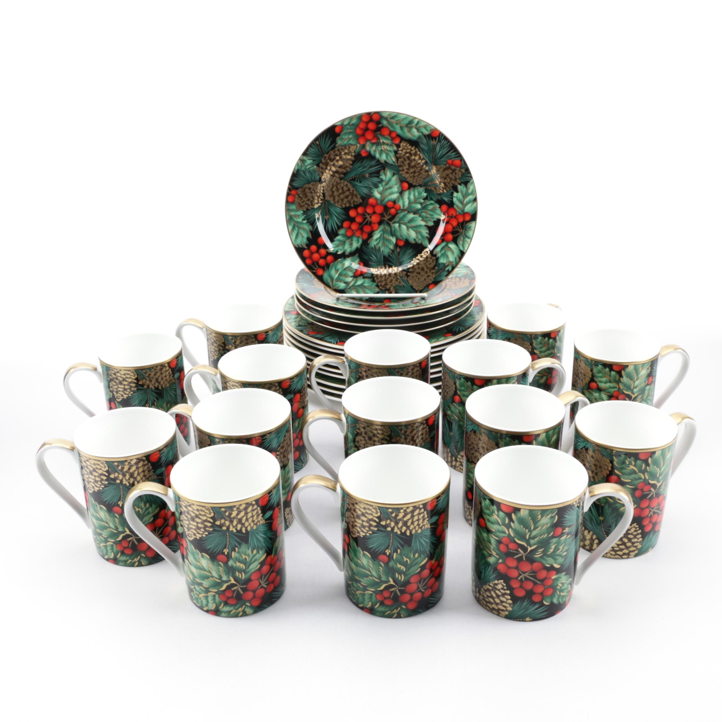 """Fitz and Floyd """"Holiday Pine"""" Bone China Plates and Coffee Cups"""