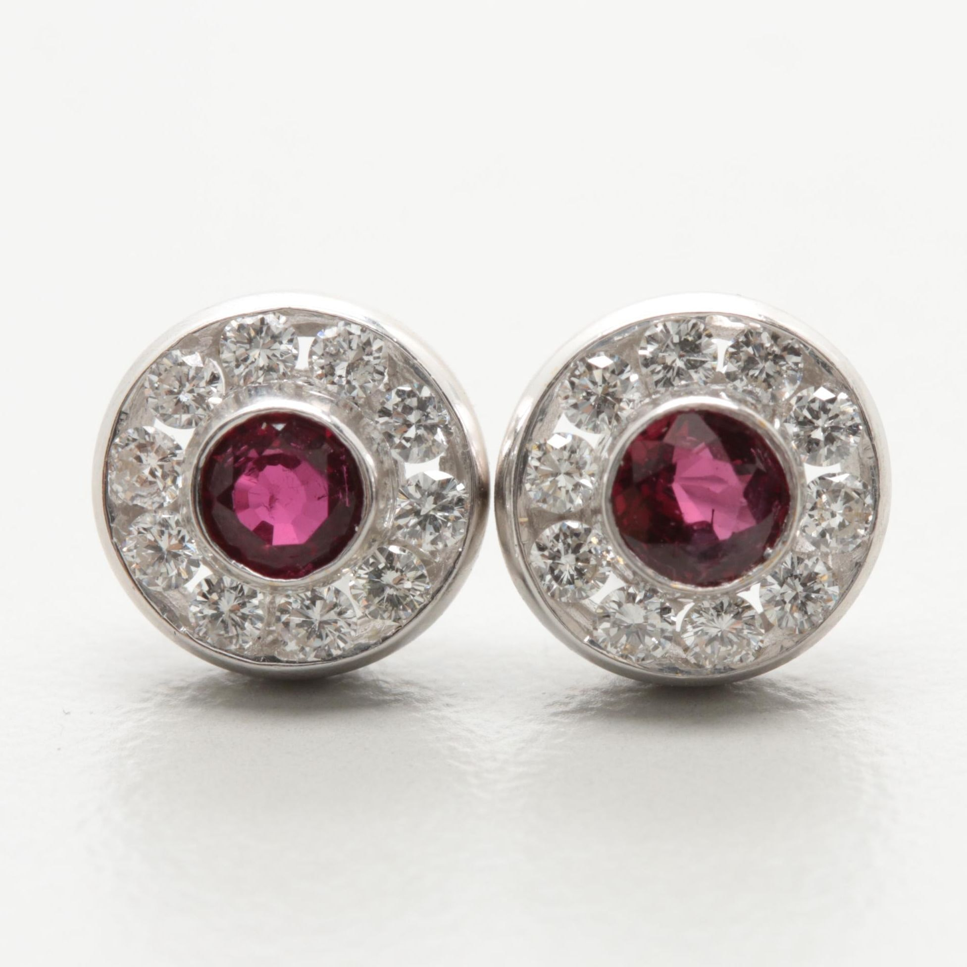18K White Gold Ruby and Diamond Stud Earrings