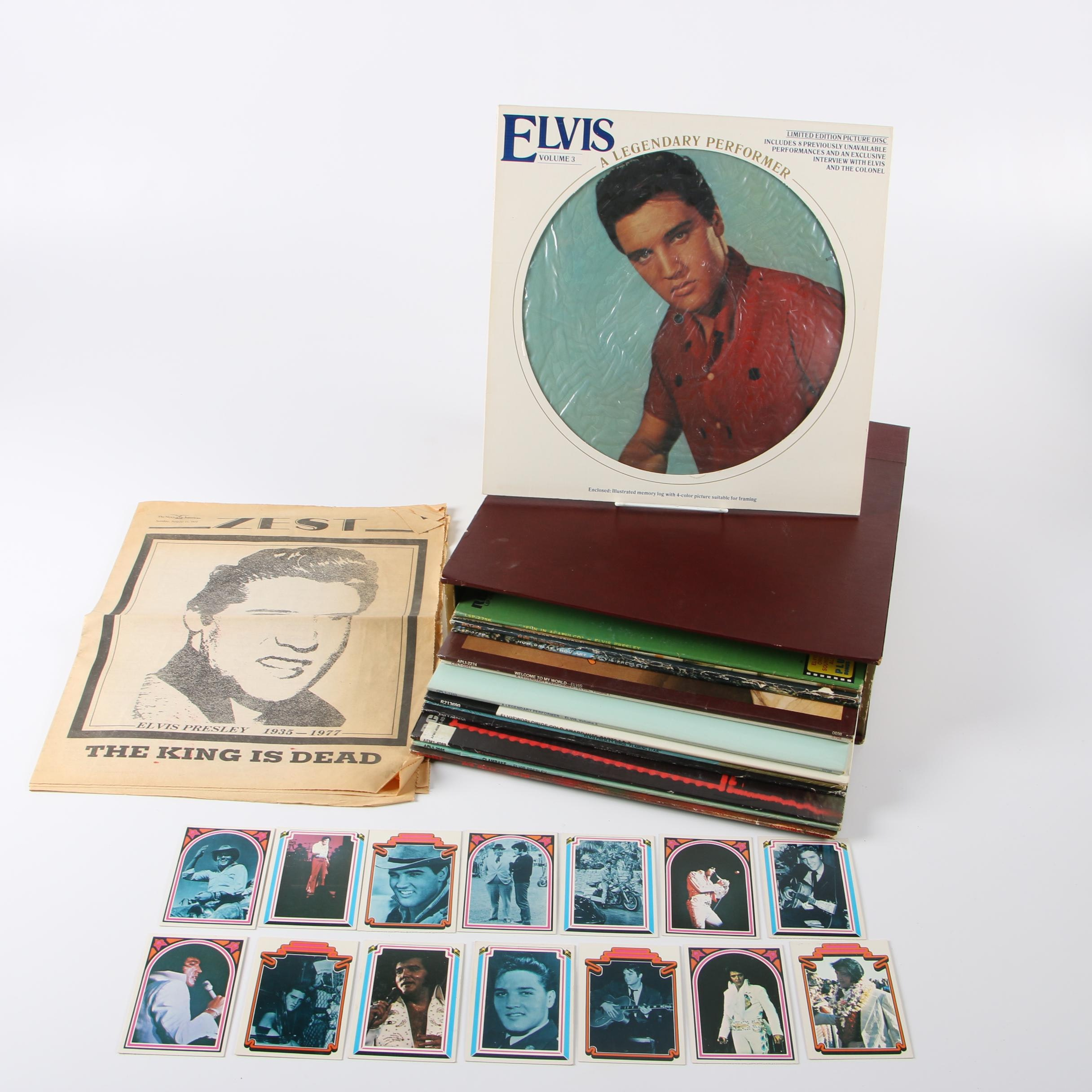 Vintage Elvis Presley Records, Newspapers, and Trading Cards with Case