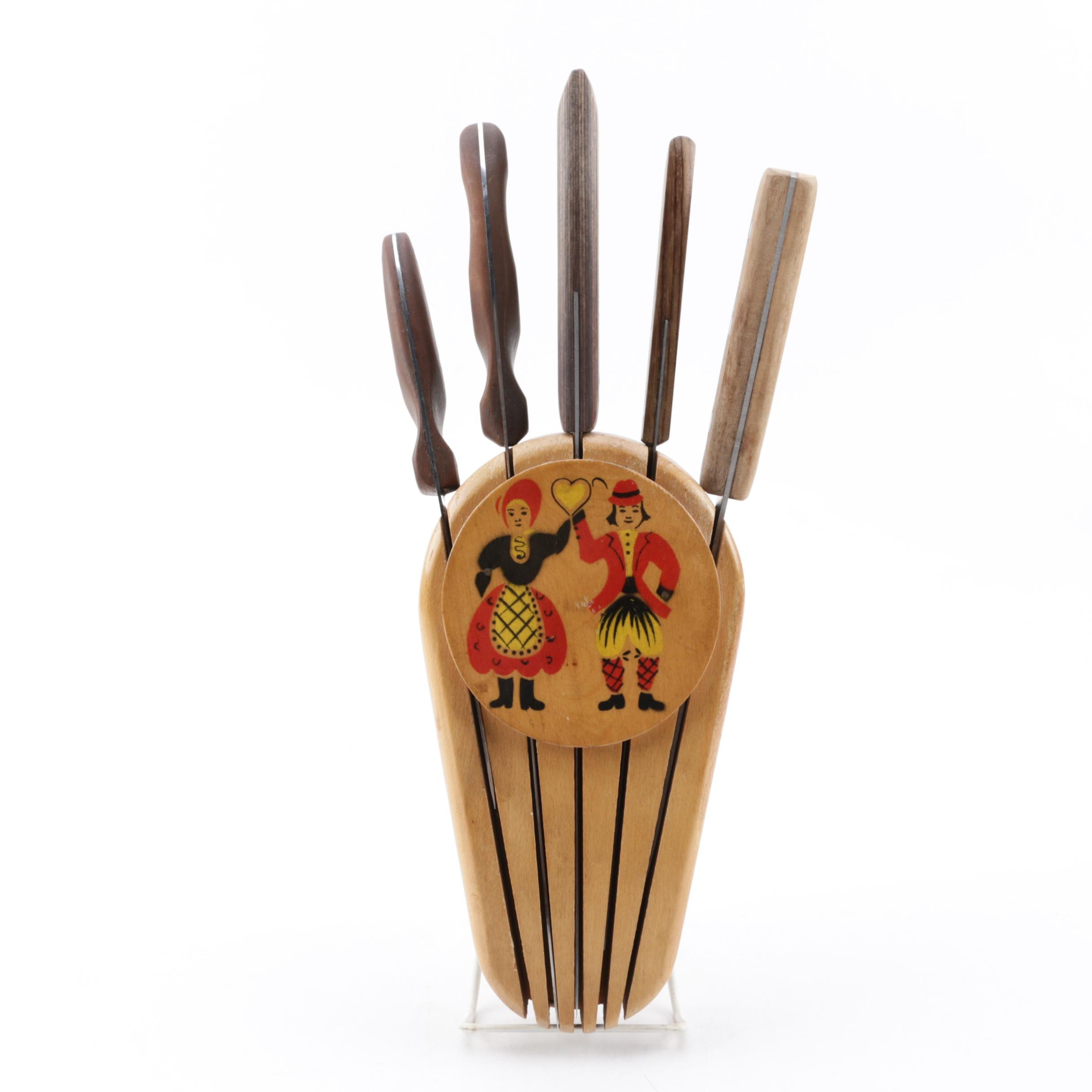 Yugolsavian Folk Art Wooden Knife Block with Kitchen Knives including Cutco