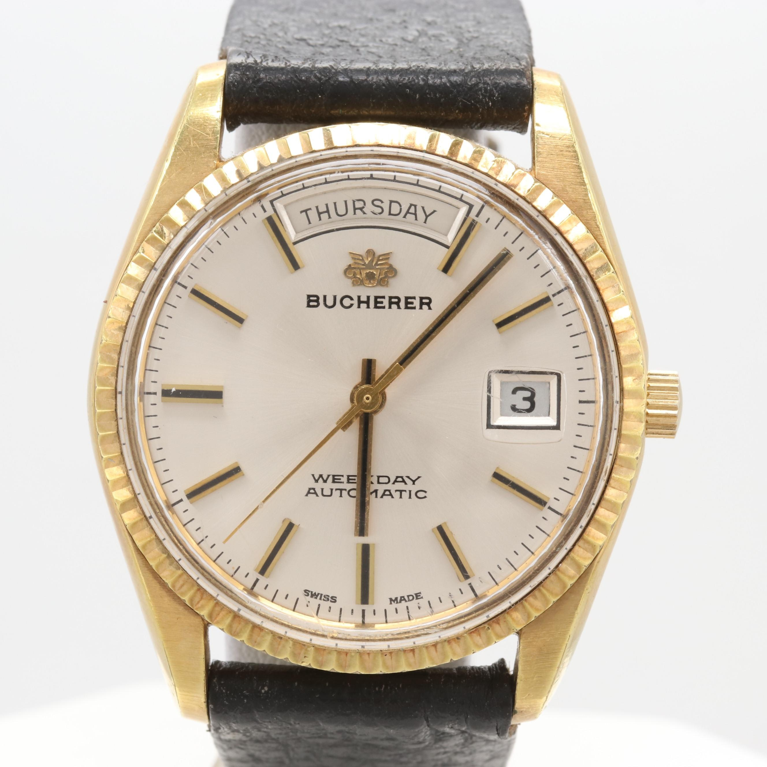 Bucherer Weekday Automatic Wristwatch Circa 1970s