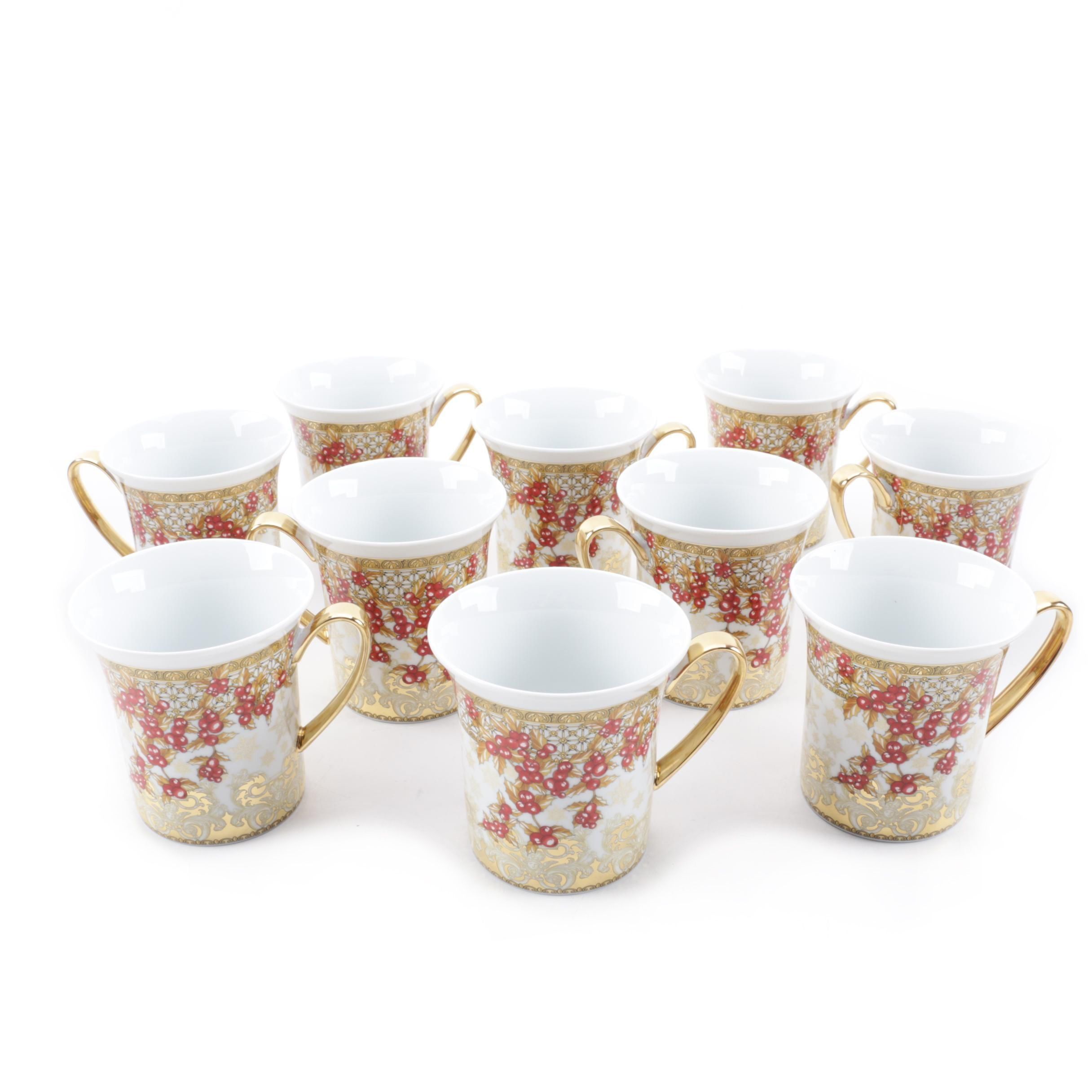 """Rosenthal Versace """"Christmas in Your Heart"""" Holiday Coffee Cups"""