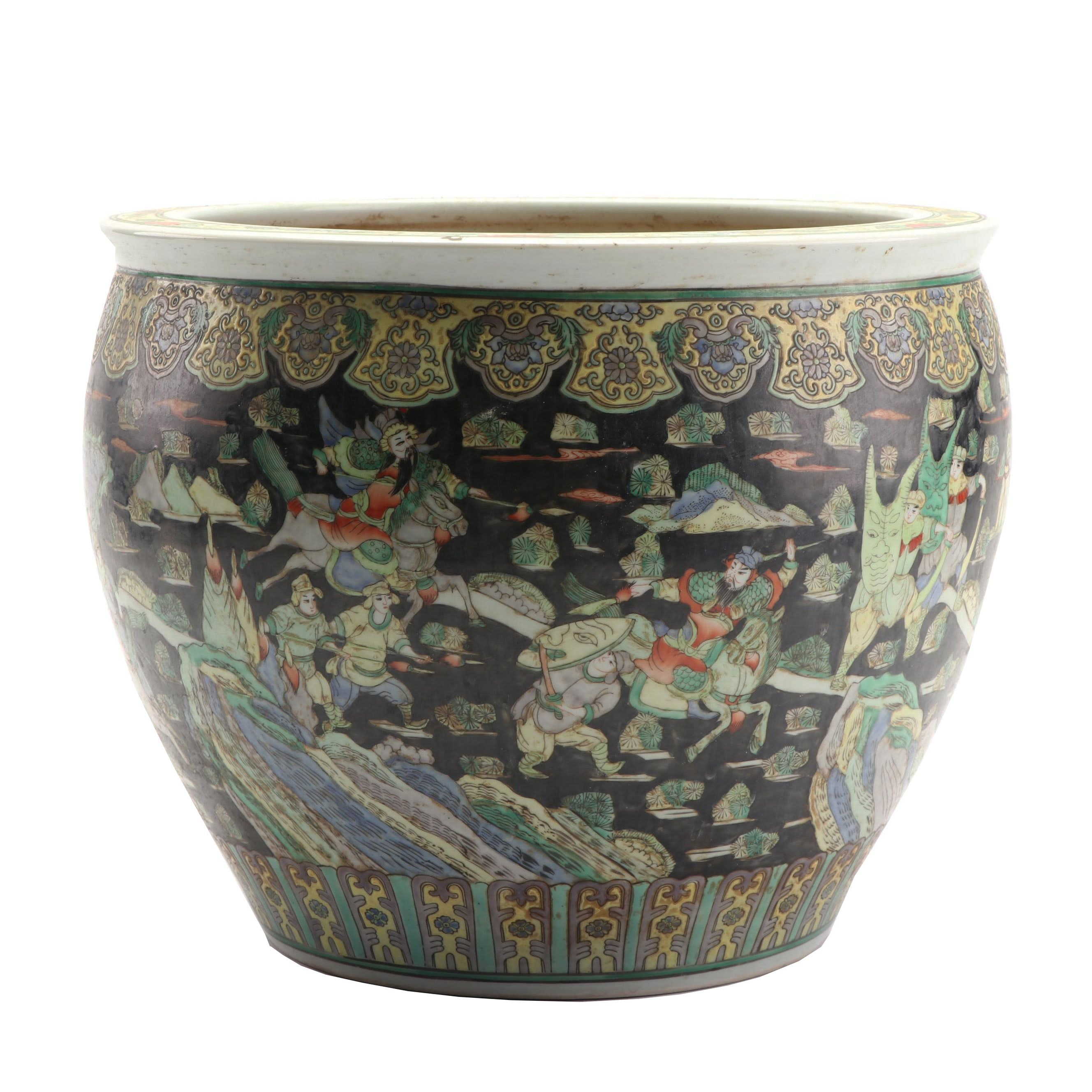 Chinese Famille Noire Style Ceramic Fishbowl Jardiniere