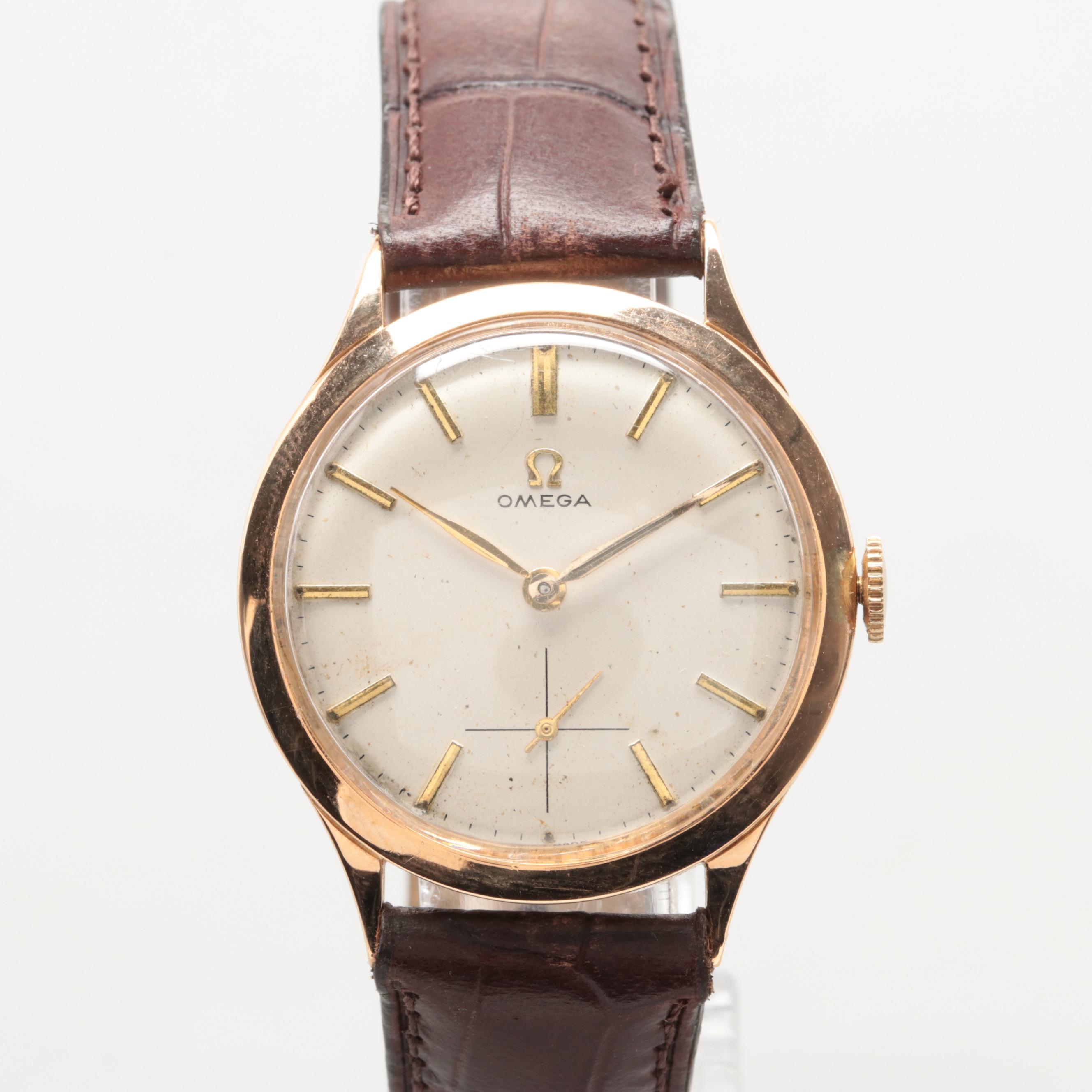 Vintage Omega 18K Yellow Gold Stem Wind Wristwatch