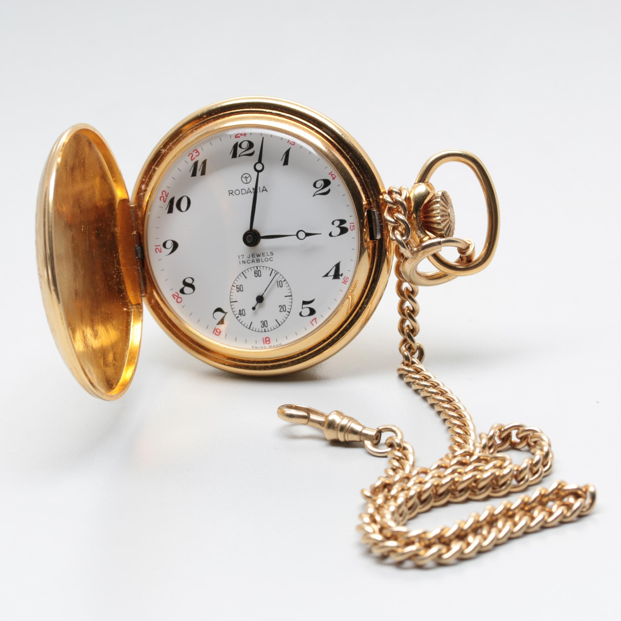 Rodania Swiss Gold Plated Hunting Case Pocket Watch