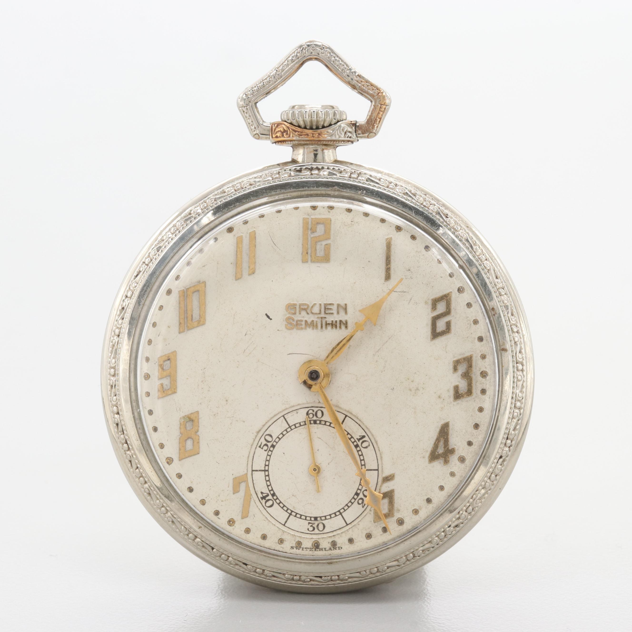 Gruen Semi-Thin Open Face Pocket Watch