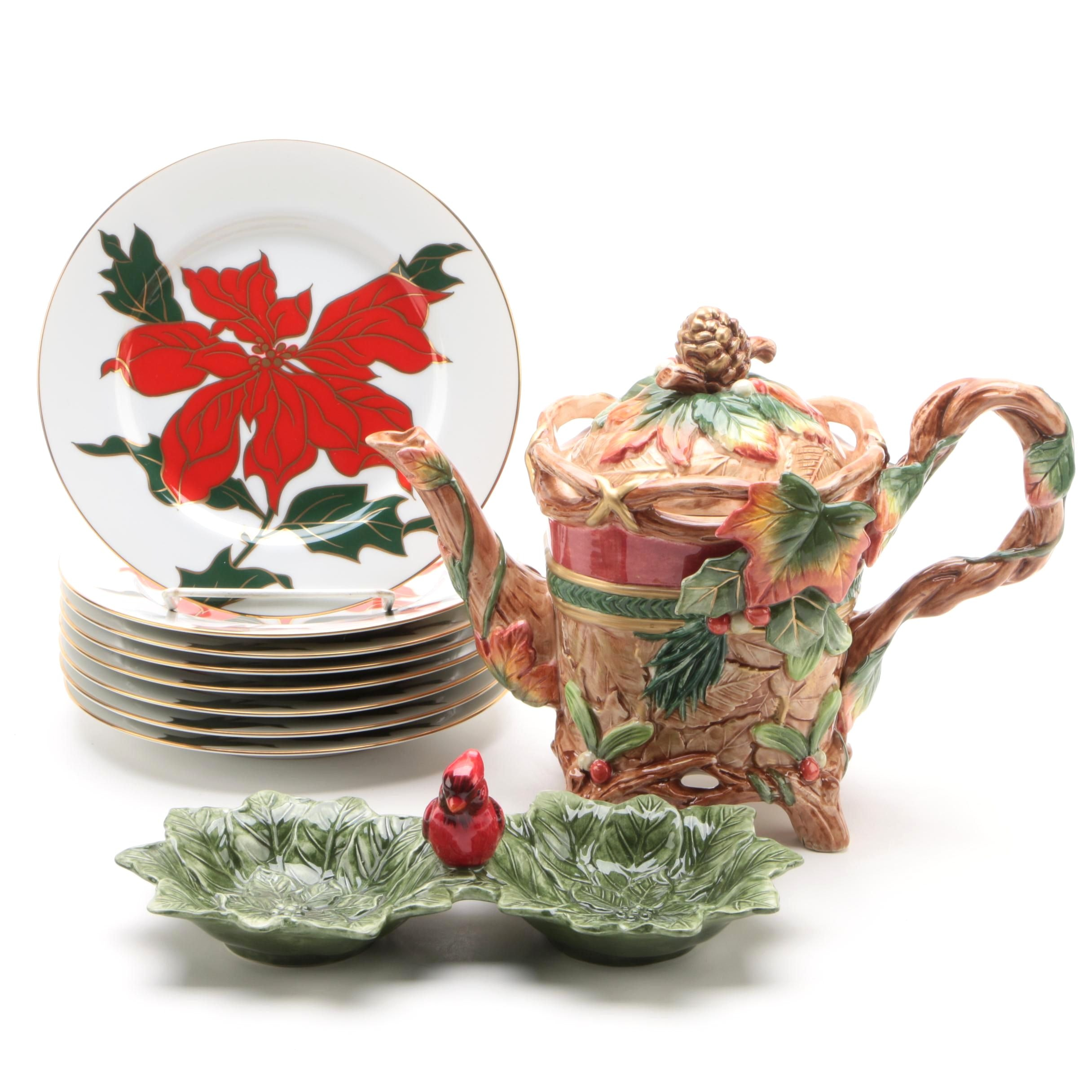 """""""Cloisonne Poinsettia"""" Salad Plates by Fitz and Floyd and More"""