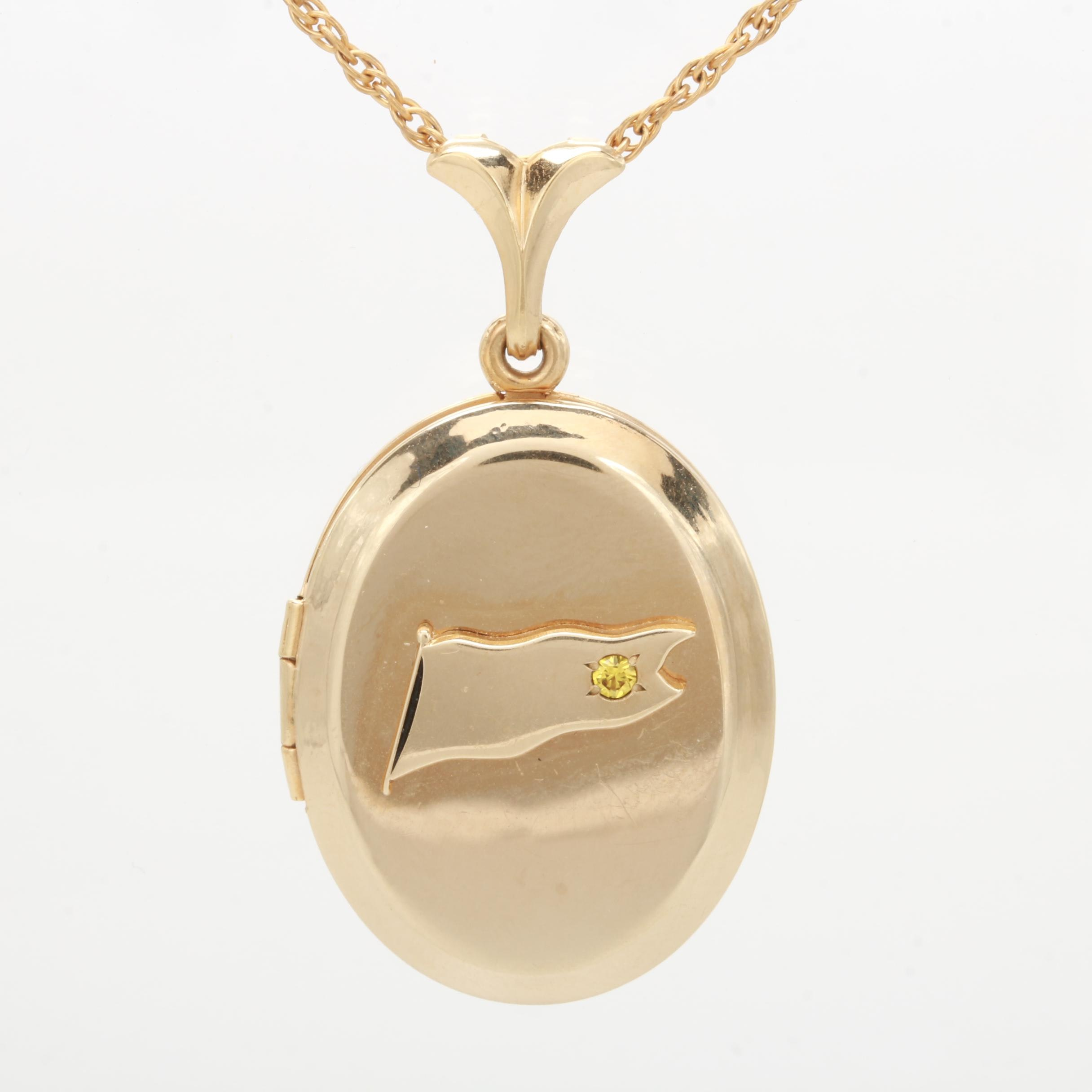Gold Filled Locket Pendant Necklace with Synthetic Yellow Sapphire Accent