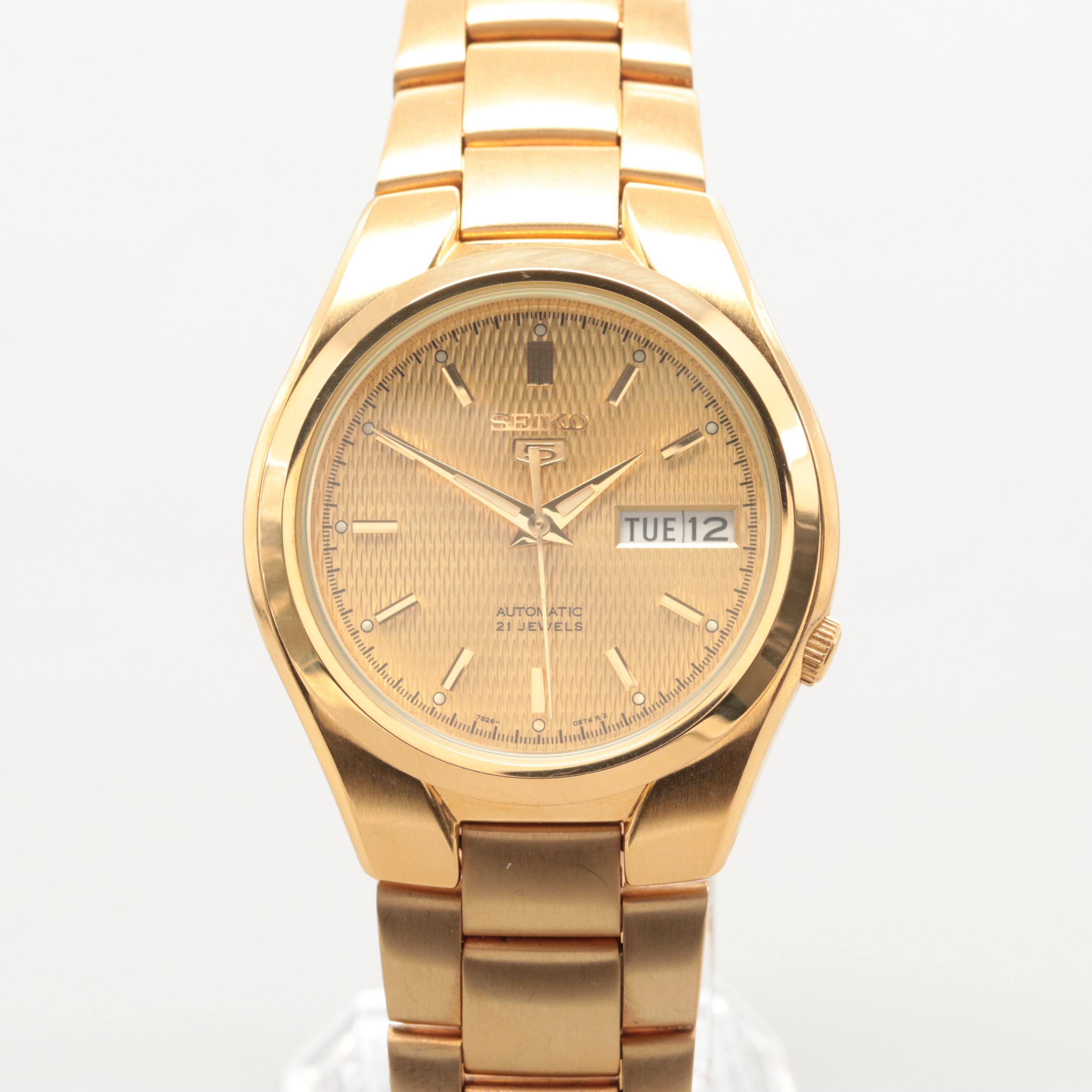 Seiko Gold Plated Stainless Steel Automatic Wristwatch With Day-Date Window