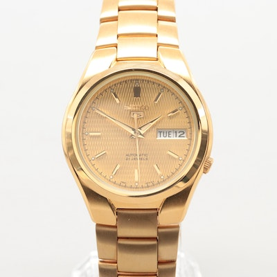 2e7763a6e8ff Seiko Gold Plated Stainless Steel Automatic Wristwatch With Day-Date Window