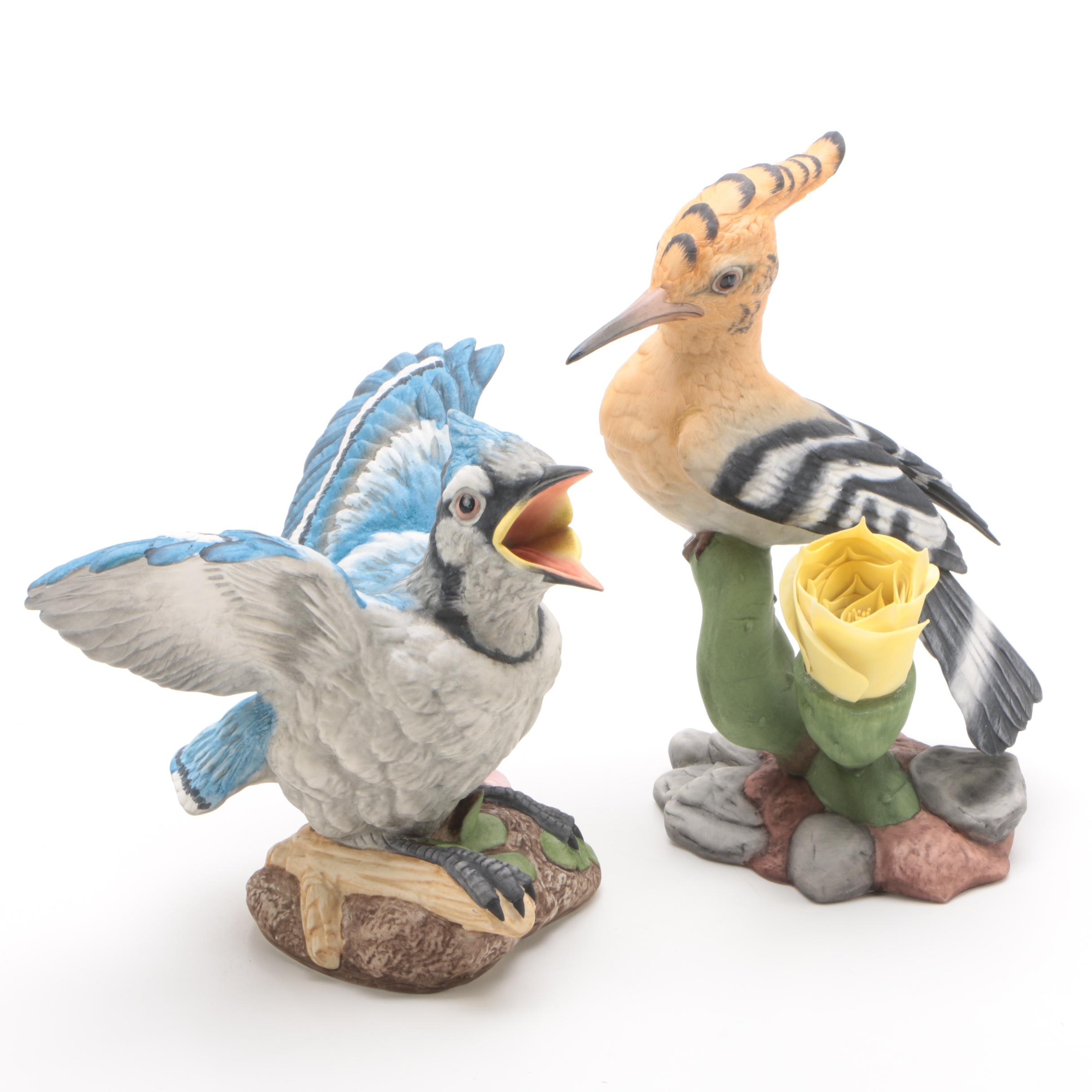 "Boehm Porcelain Figurines""Fledgling Hoopoe"" and ""Blue Jay Fledgling"""