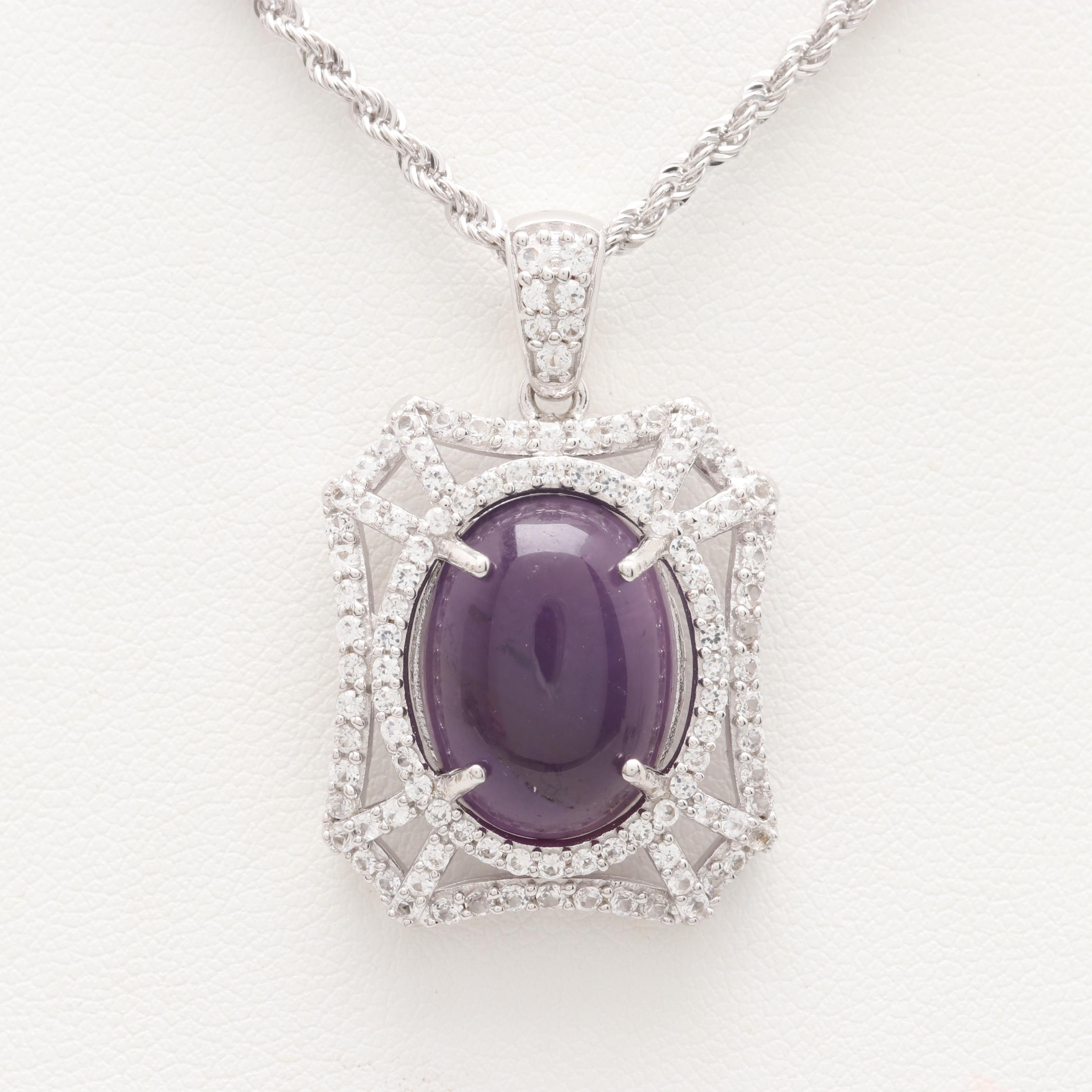 Sterling Silver Amethyst and White Sapphire Necklace