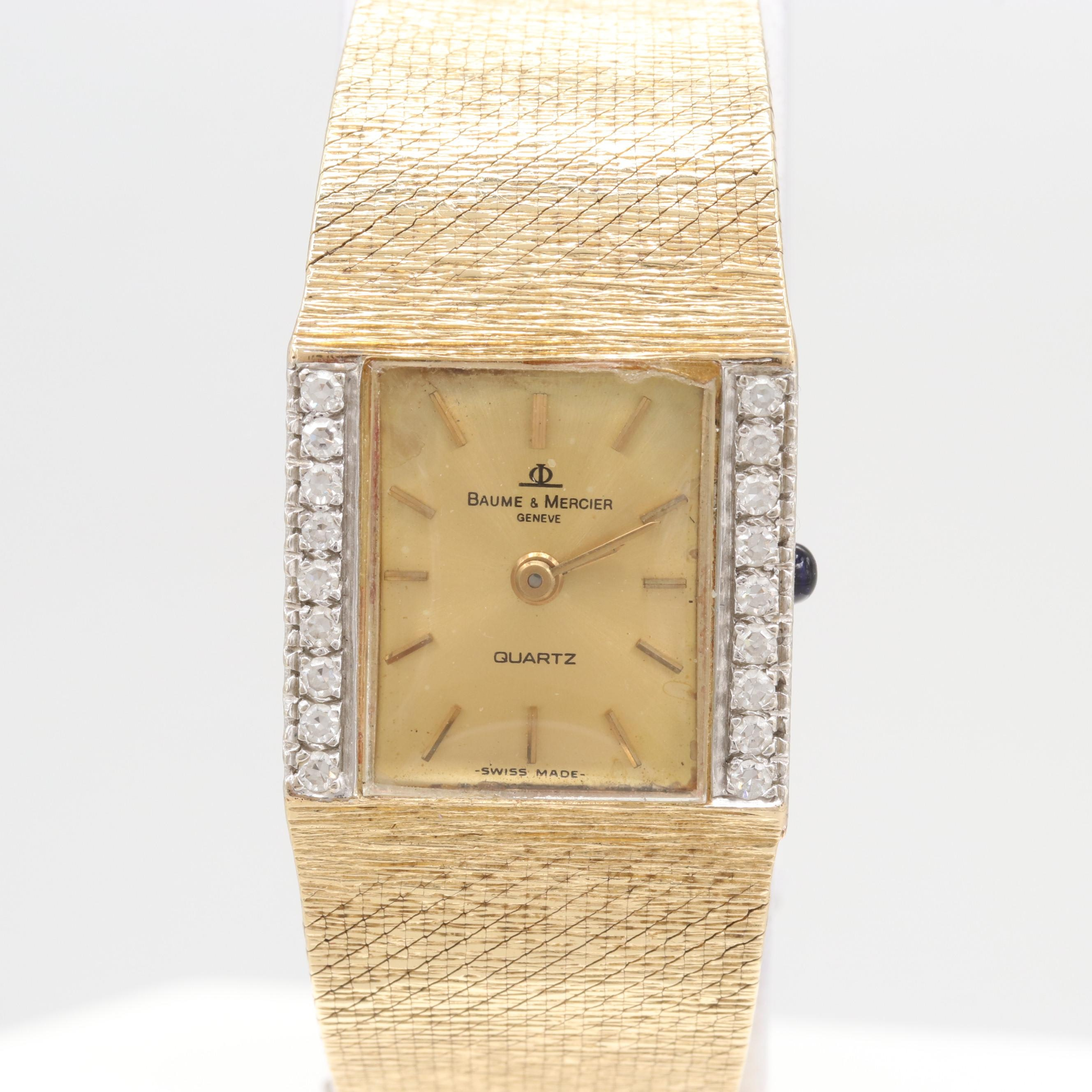 Baume & Mercier 14K Yellow Gold and Diamond Bezel Quartz Wristwatch