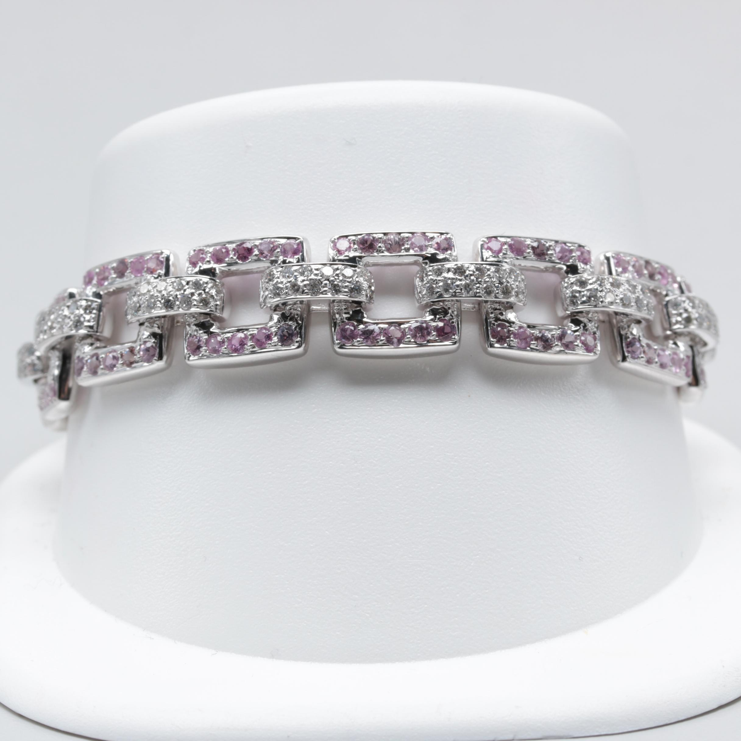 18K White Gold Pink Sapphire and 2.90 CTW Diamond Bracelet