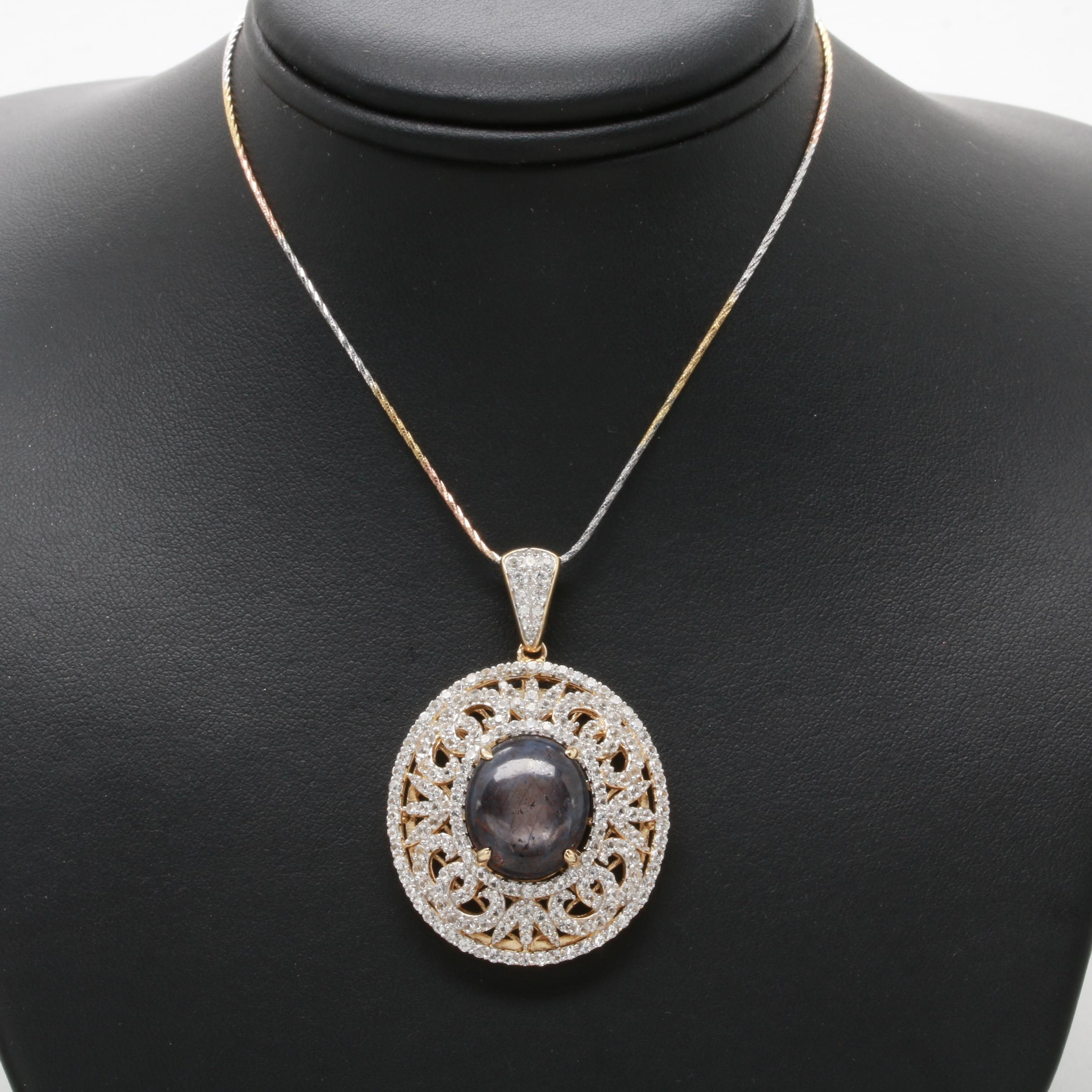 Gold Wash Sterling Silver Corundum and White Sapphire Necklace