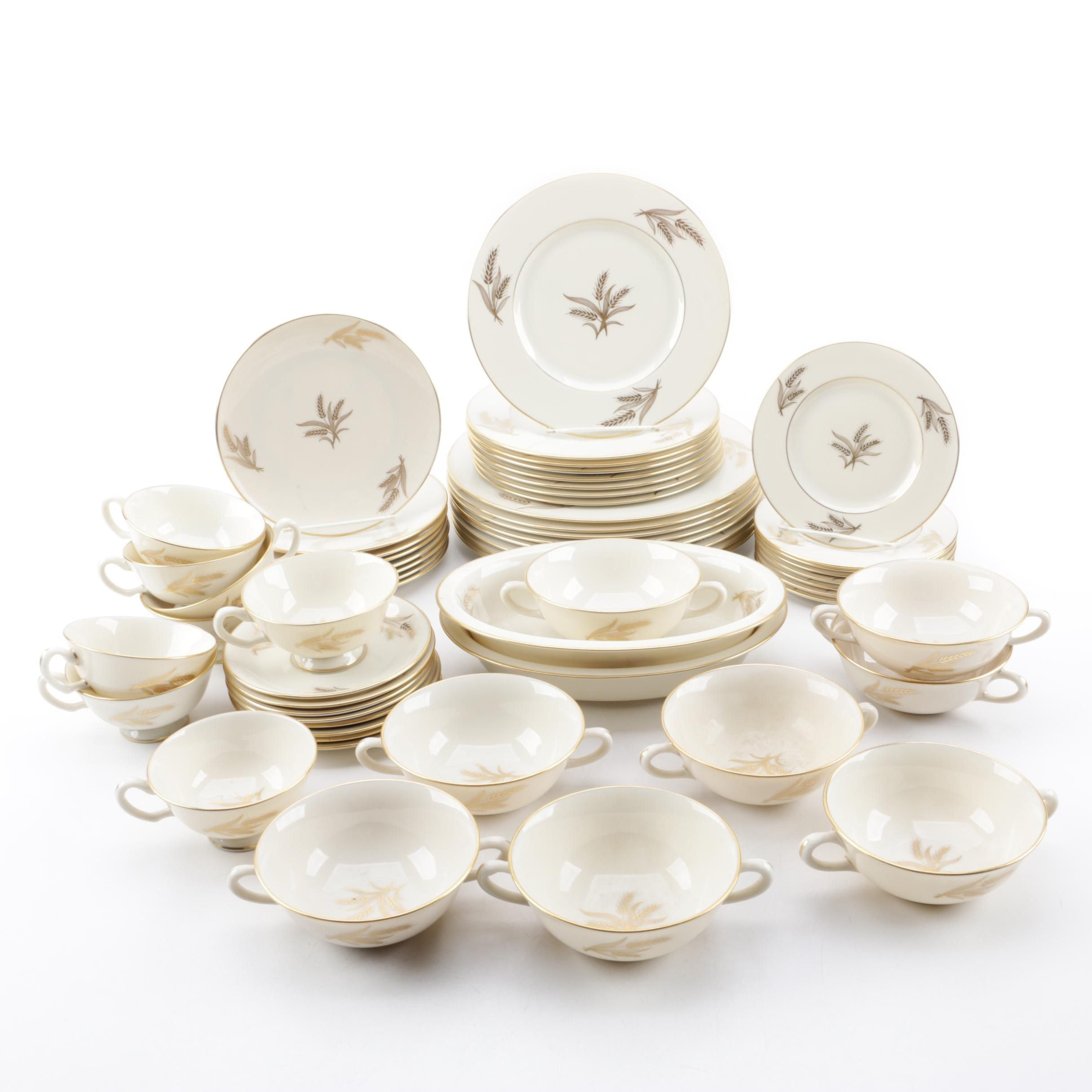 "Mid to Late 20th Century Lenox ""Harvest"" Porcelain Dinnerware Service for Eight"