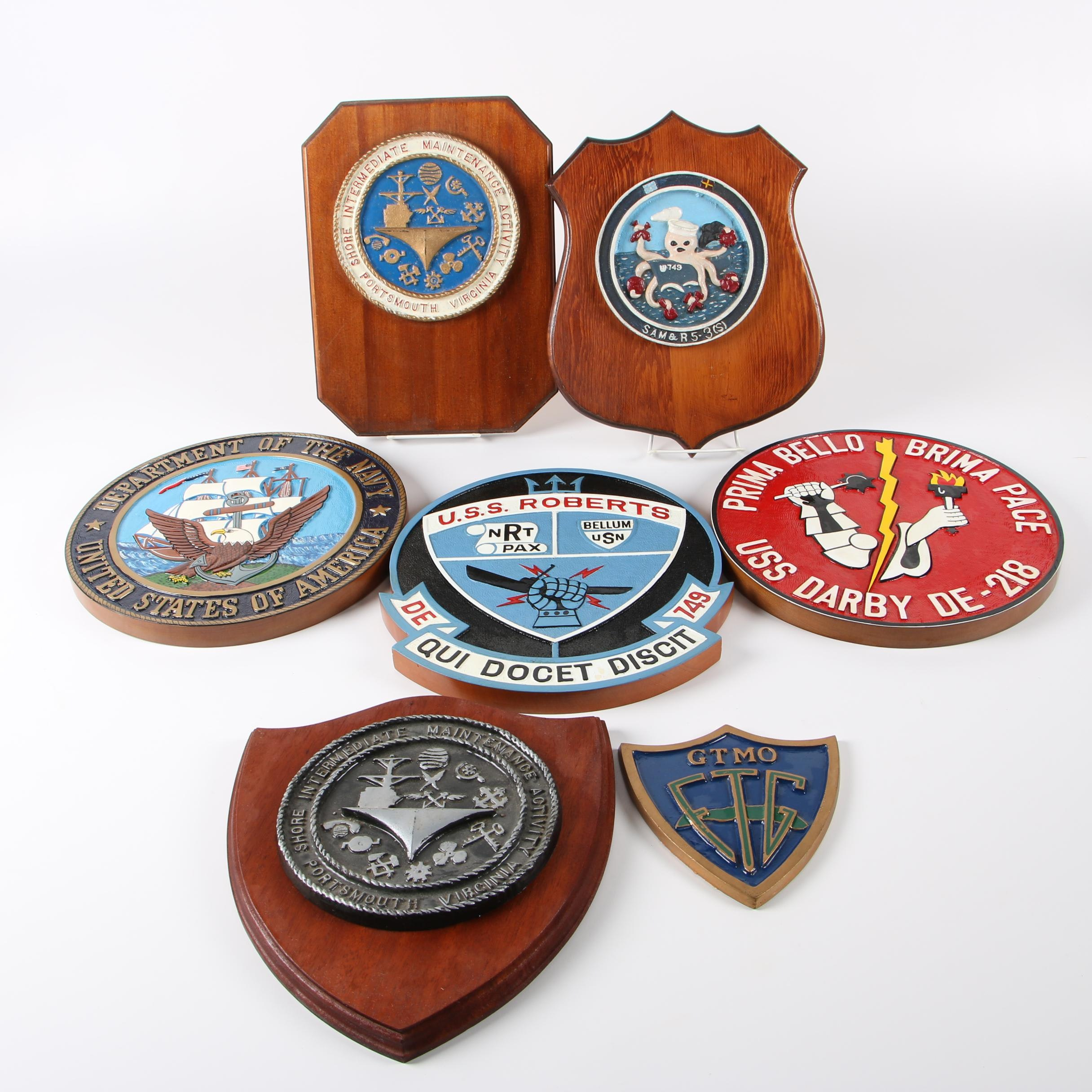 "U. S. Navy Themed Wall Plaques Including ""USS Roberts"" Plaques"