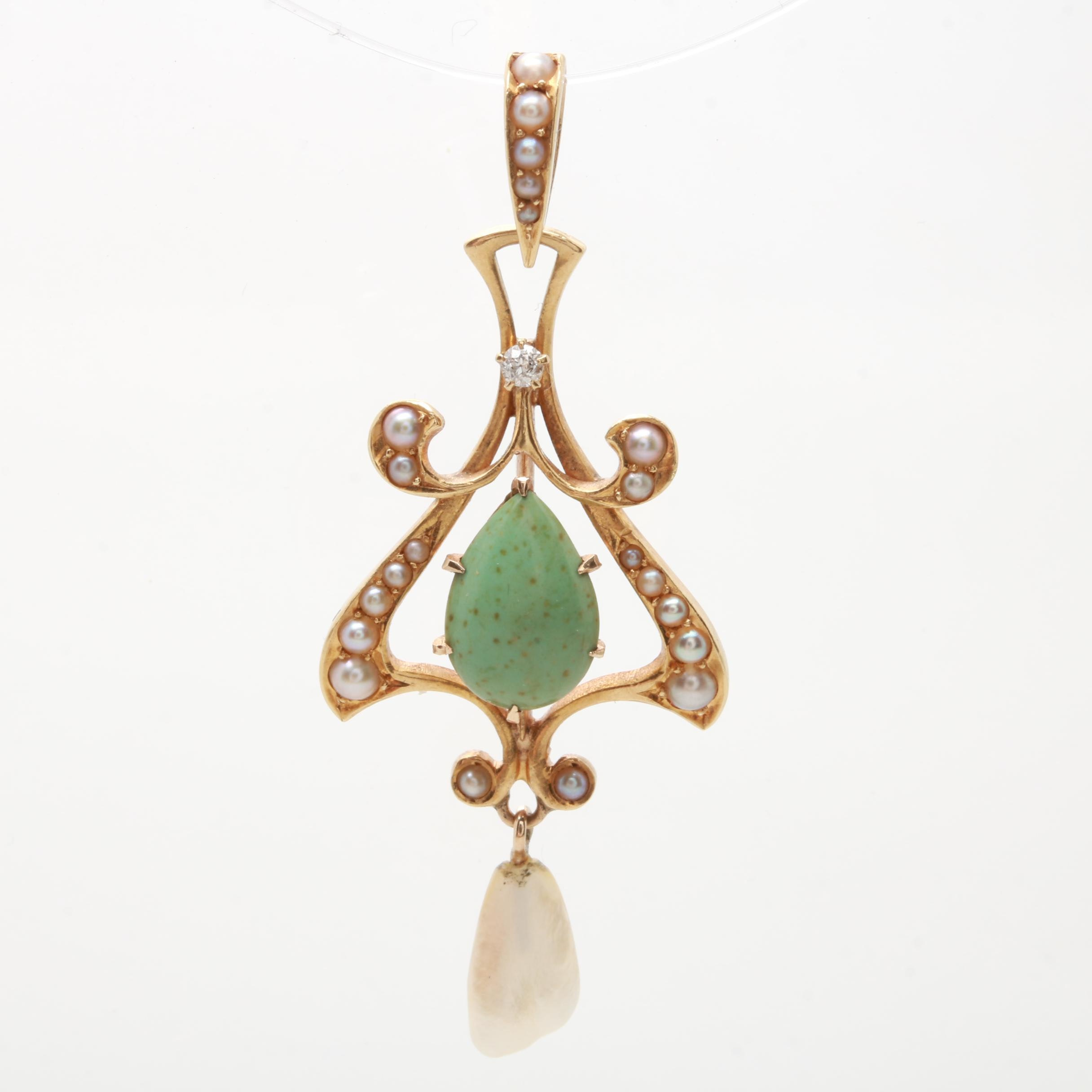 Art Nouveau Krementz 14K Yellow Gold Diamond, Jasper and Pearl Pendant
