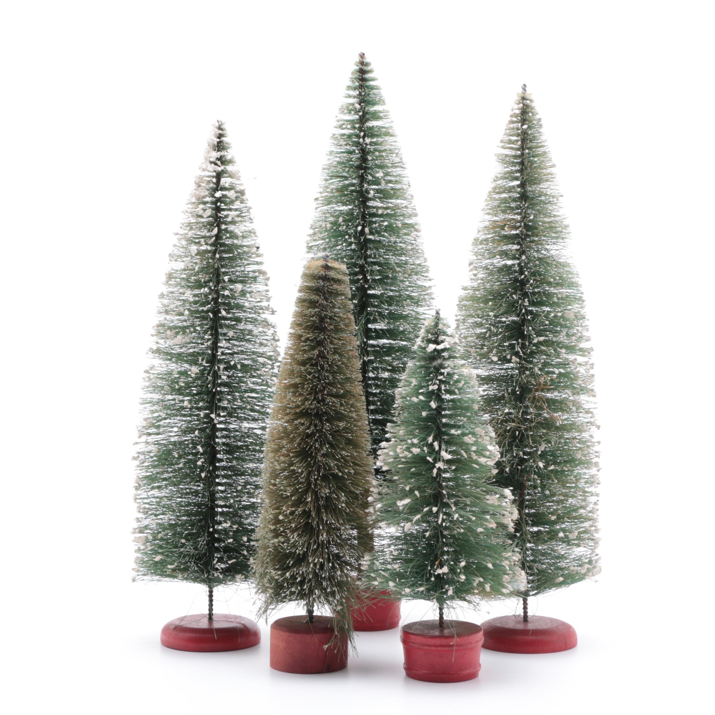 Five Vintage Tapered Bottle Brush Evergreen Trees with Flocked Snow
