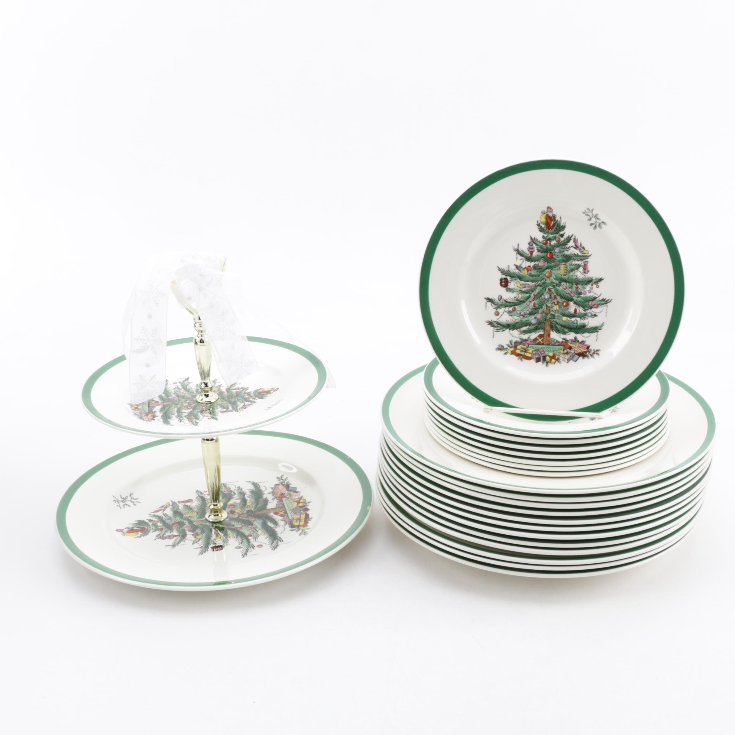 "Spode ""Christmas Tree"" Earthenware Plates and Two-Tiered Tidbit Tray"