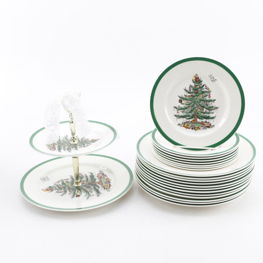 "Spode Christmas Tree History: Spode ""Christmas Tree"" Earthenware Plates And Two-Tiered"
