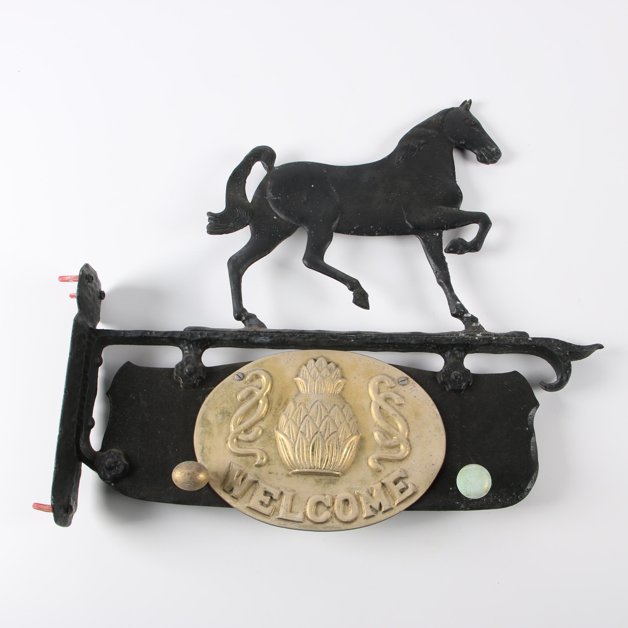 """Cast Iron and Brass """"Welcome"""" Sign with Hooks"""
