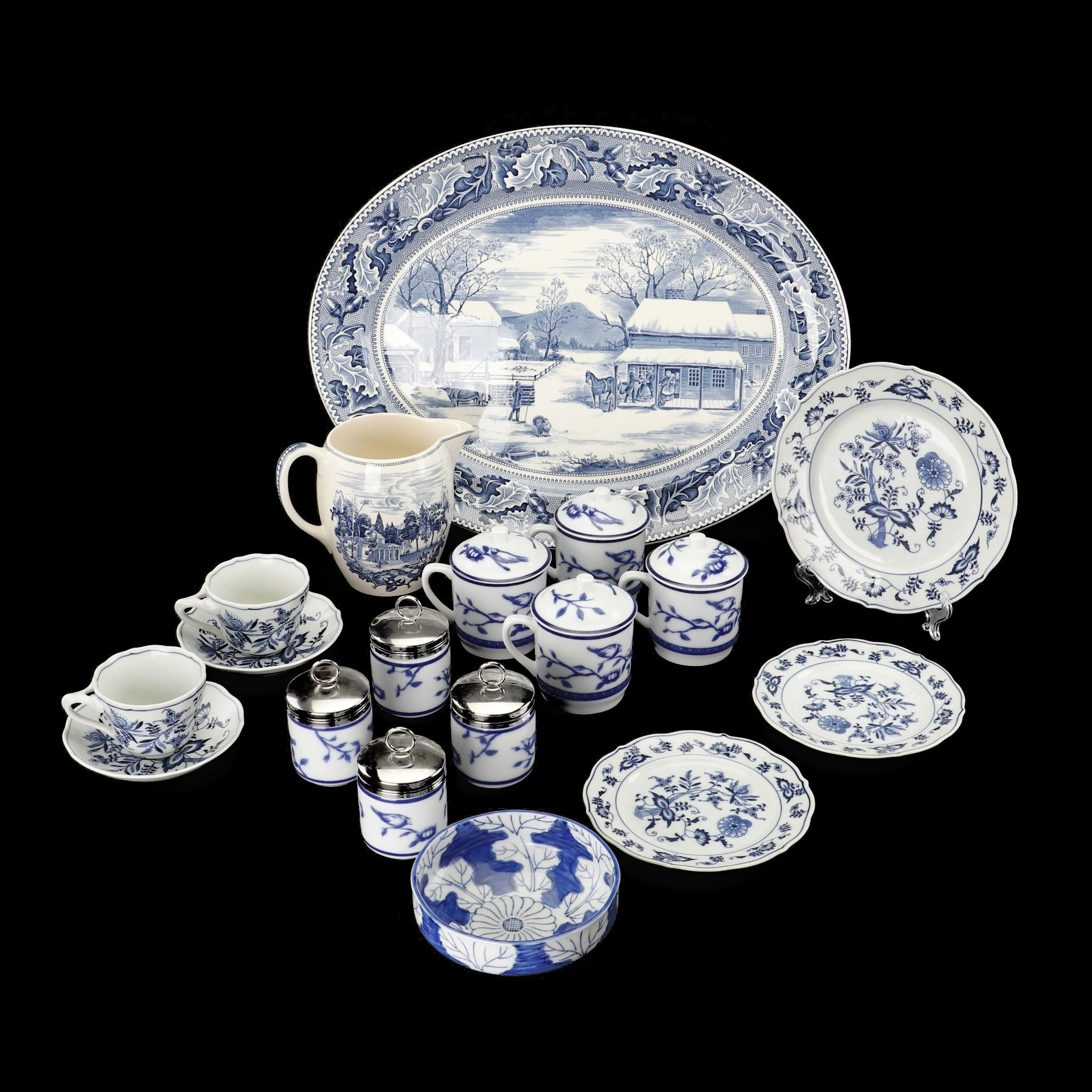 Blue and White Tableware including Johnson Brothers