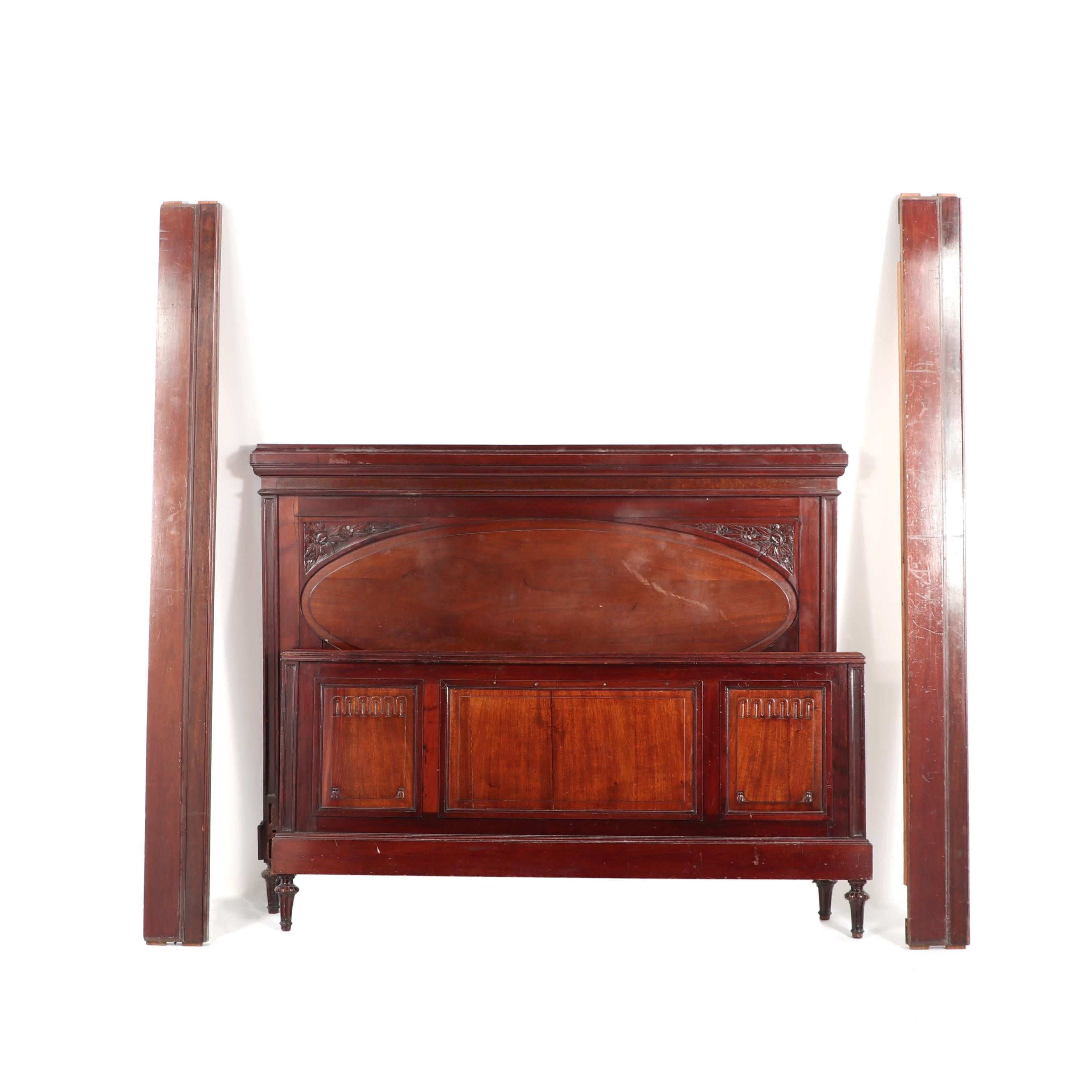 Victorian Style Mahogany Queen Size Bed Frame Mid 20th Century