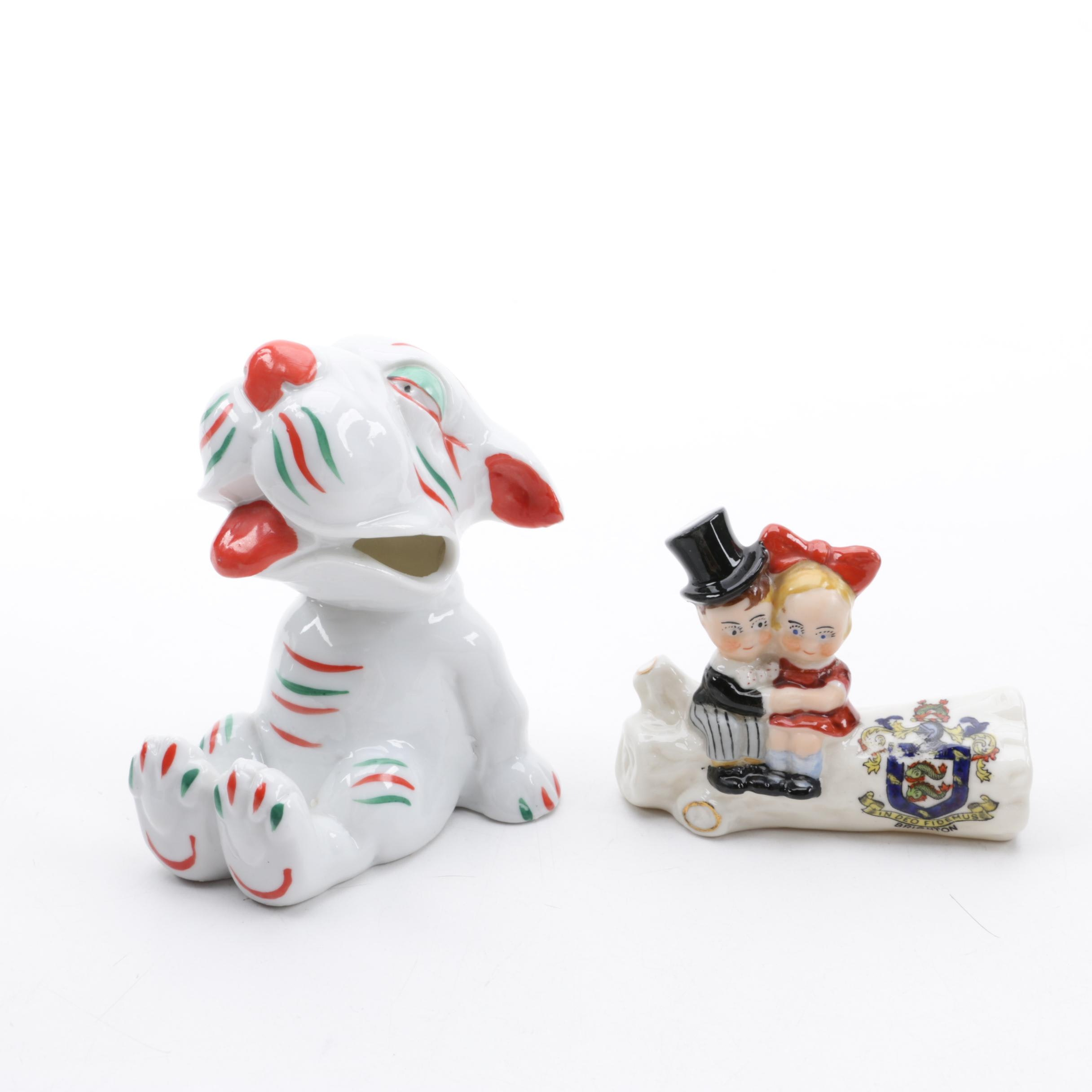 Arcadian Crested China Figurine with German Porcelain Dog Figurine