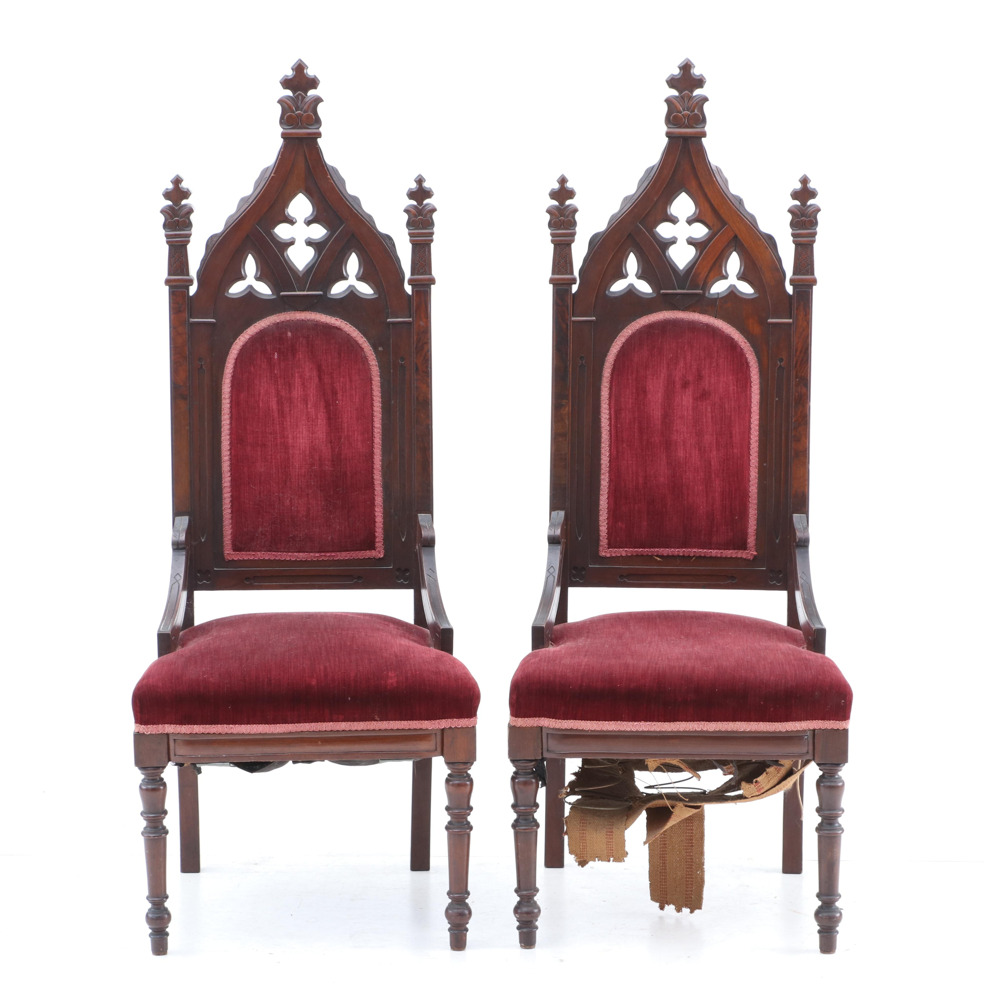 Pair of Gothic Revival Walnut Armchairs, 19th Century