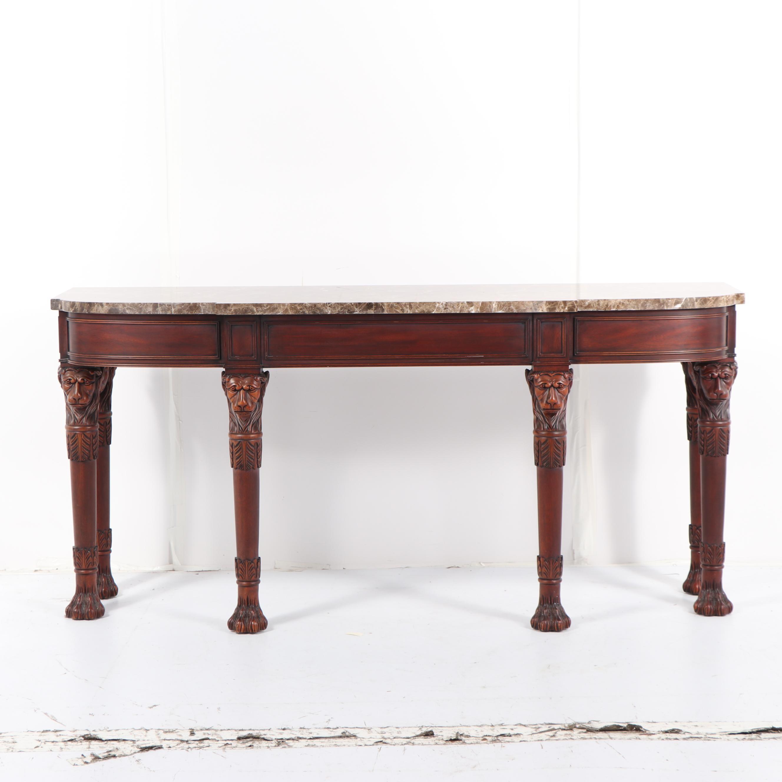 Renaissance Revival Style Mahogany Long Console Table, Late 20th Century